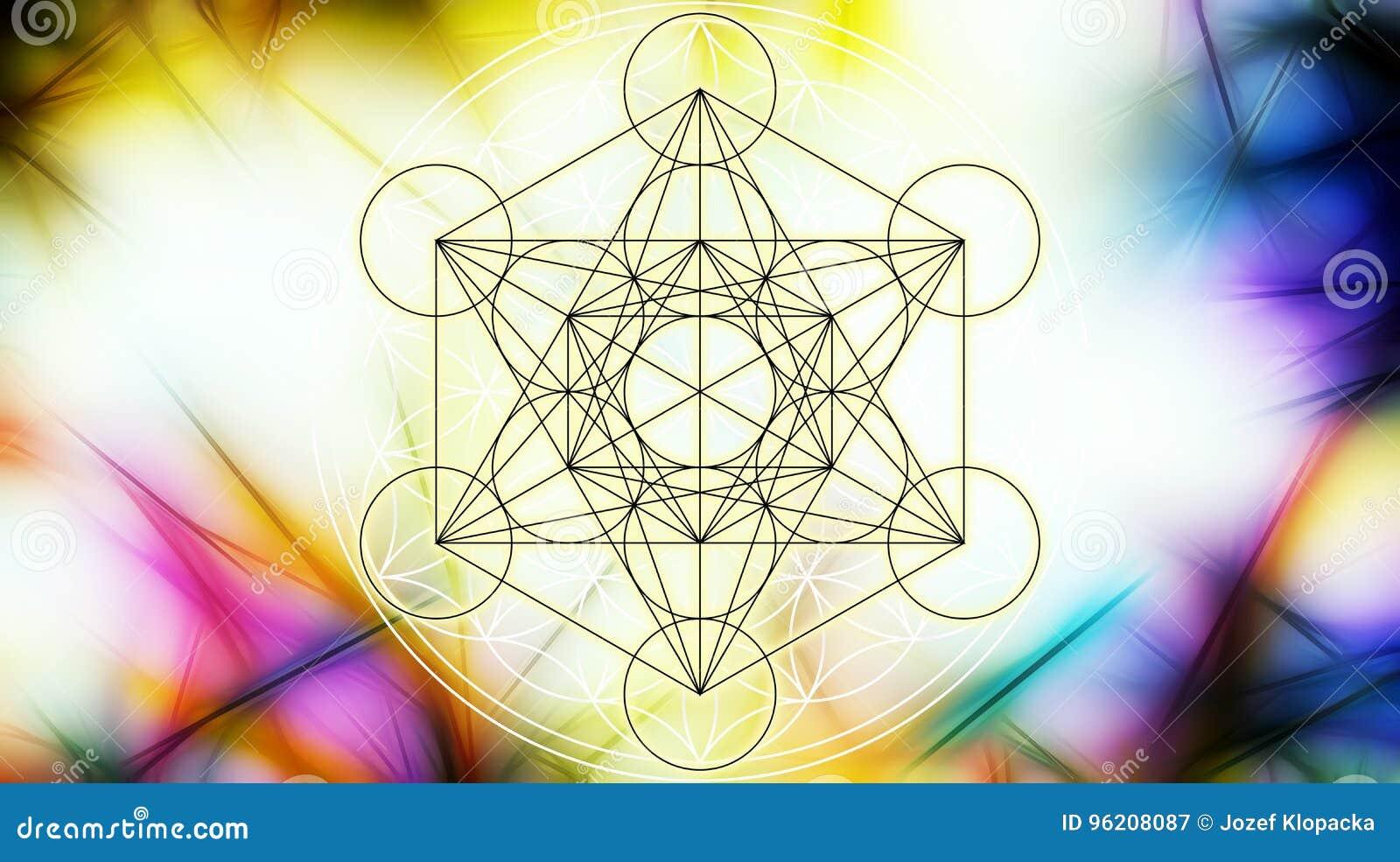 生活轻的merkaba和花在抽象颜色背景和分数维结构的 神圣的几何