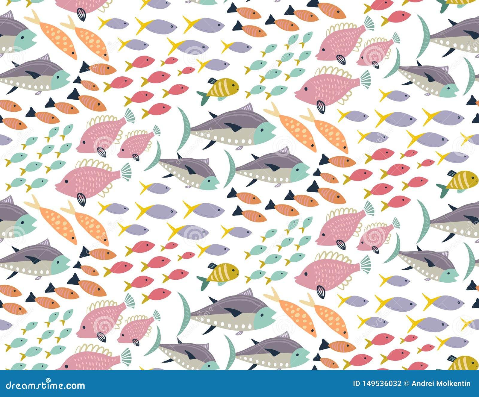用不同的五颜六色的异乎寻常的鱼的传染媒介无缝的样式