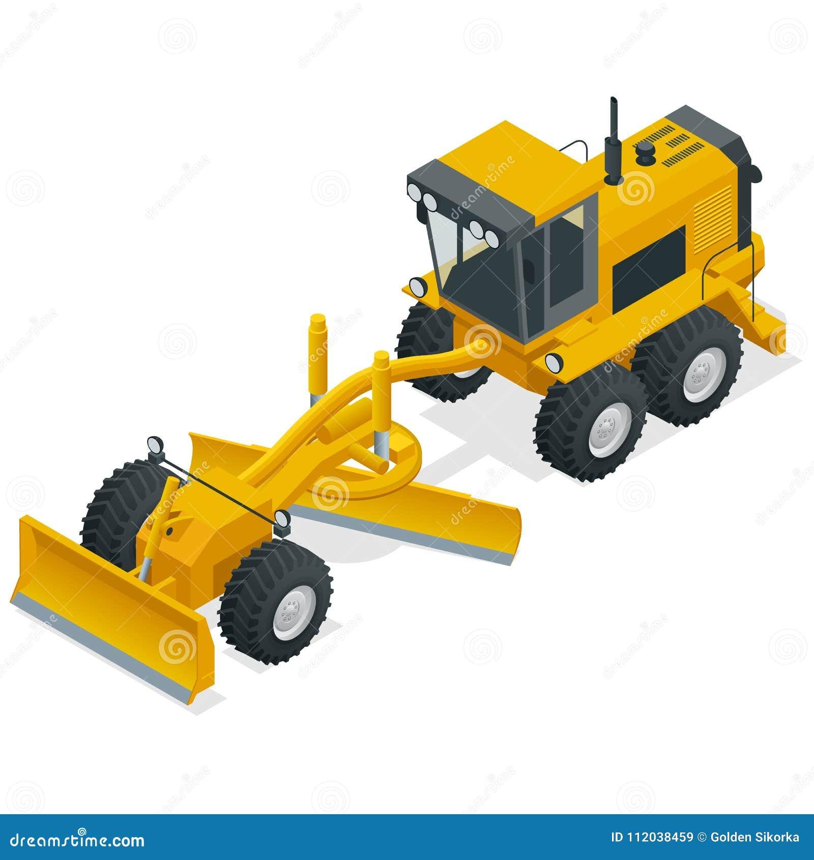 用于土路和石渣路建筑和维护的等量平地机  背景建筑挖掘机查出的机械对象白色