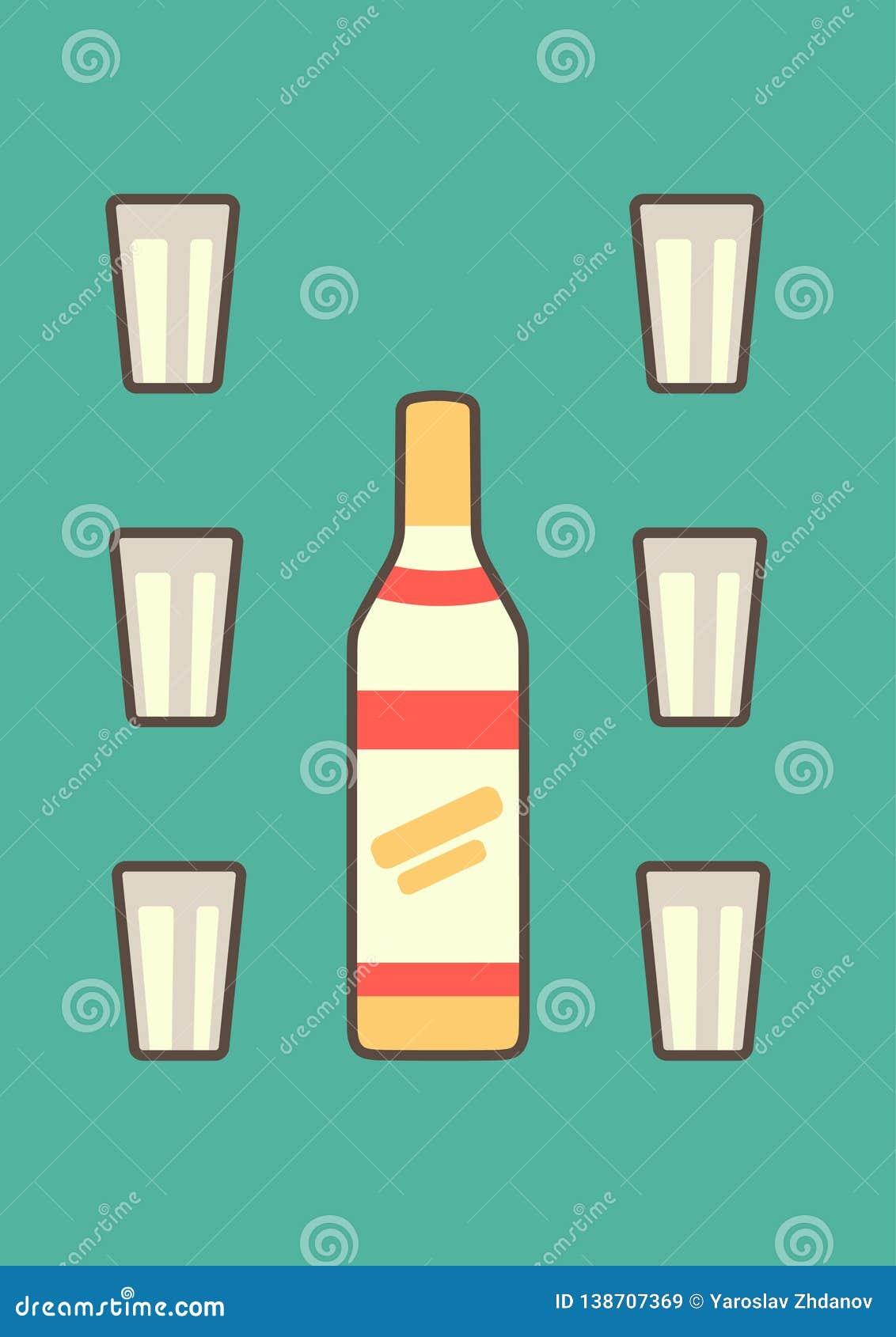 用在青蓝色背景向量图形的雕琢平面的玻璃装饰的经典俄国伏特加酒瓶在平的样式