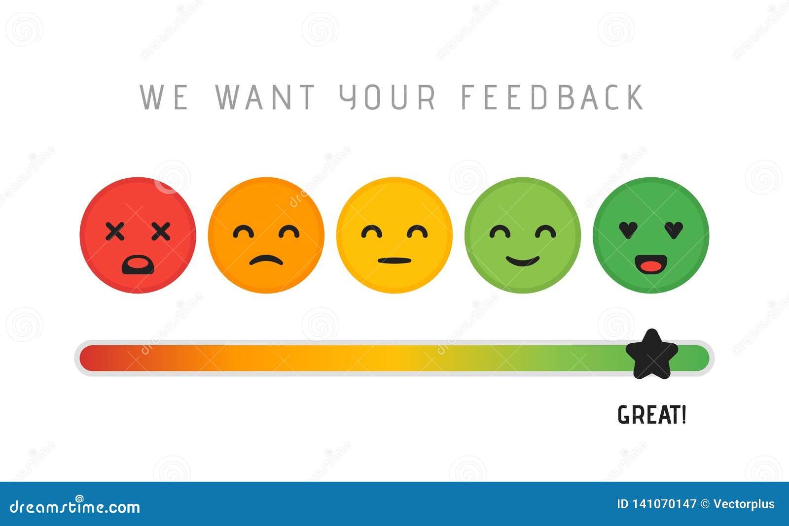 用户满意构思设计 我们想要您的反馈规定值回顾标度星概念 向量