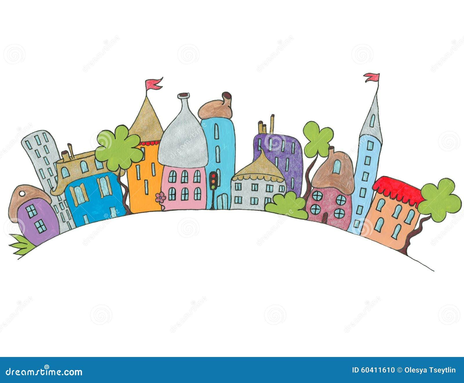 用手被画的动画片城市 查出