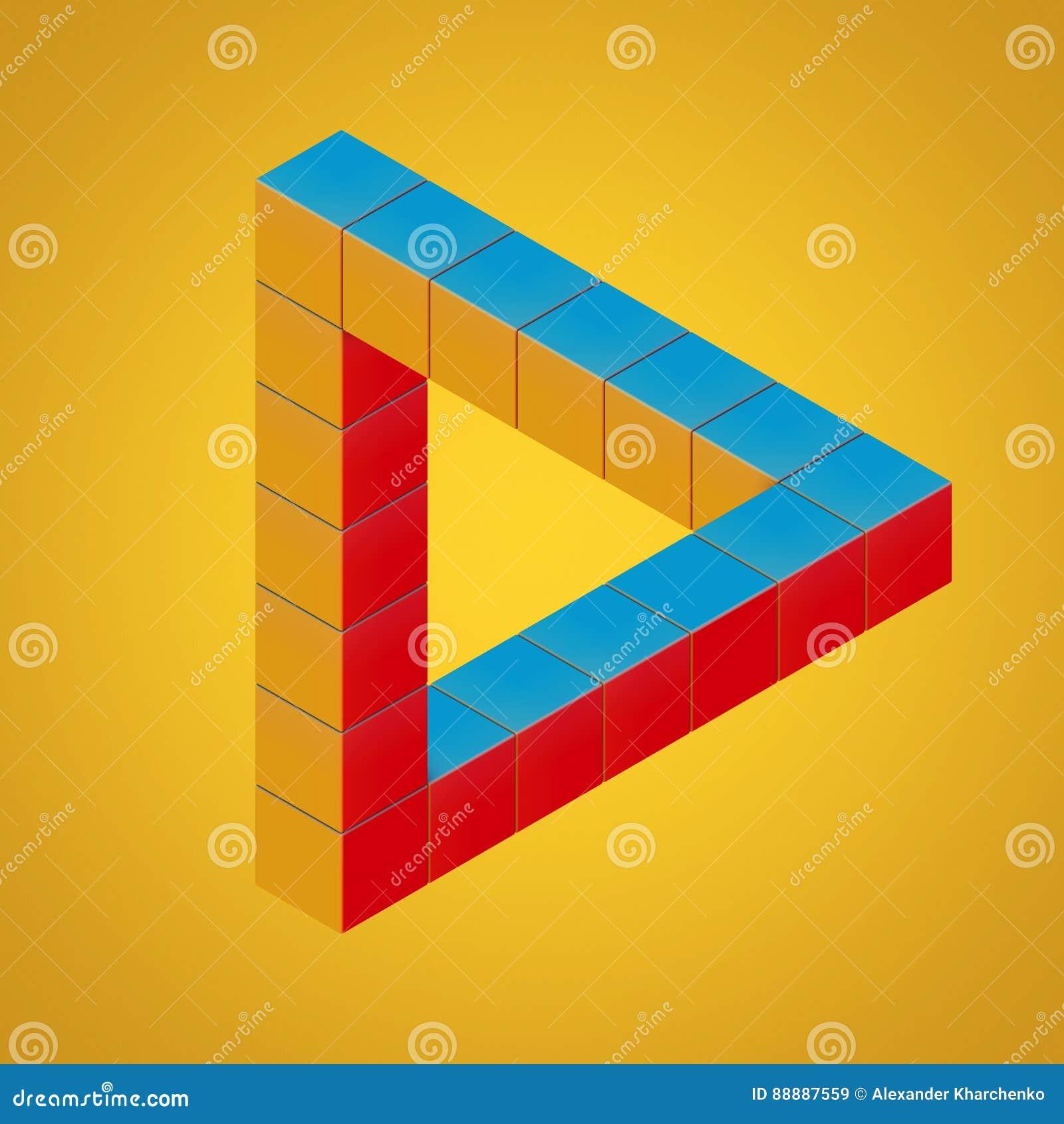 用立方体做的多色不可能的使成环的三角幻觉