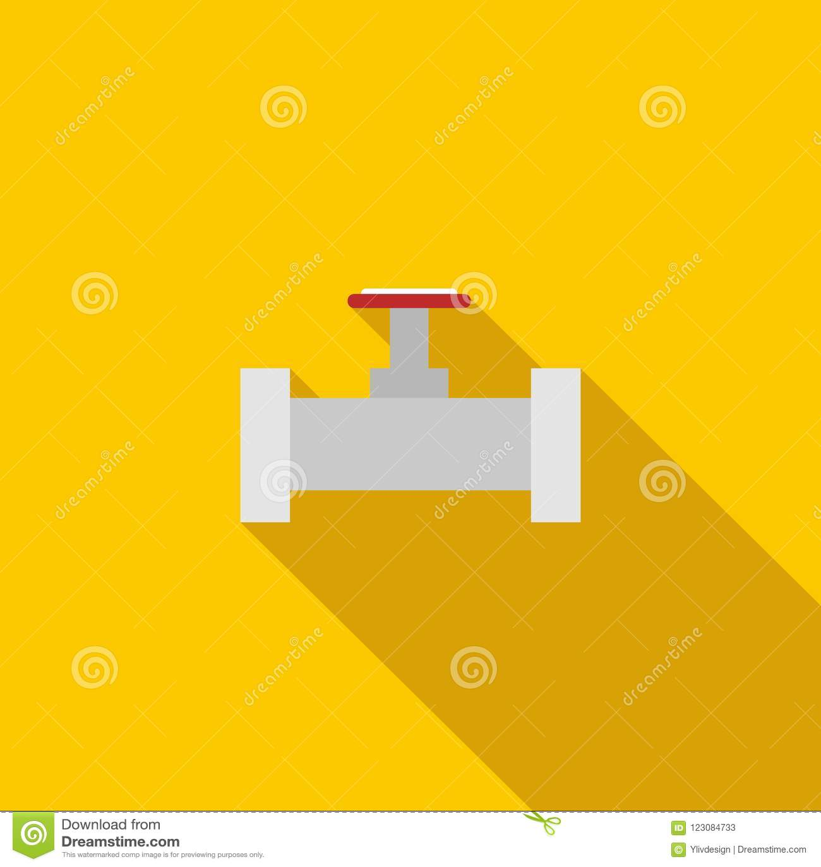 用管道输送与一个红色阀门象,平的样式