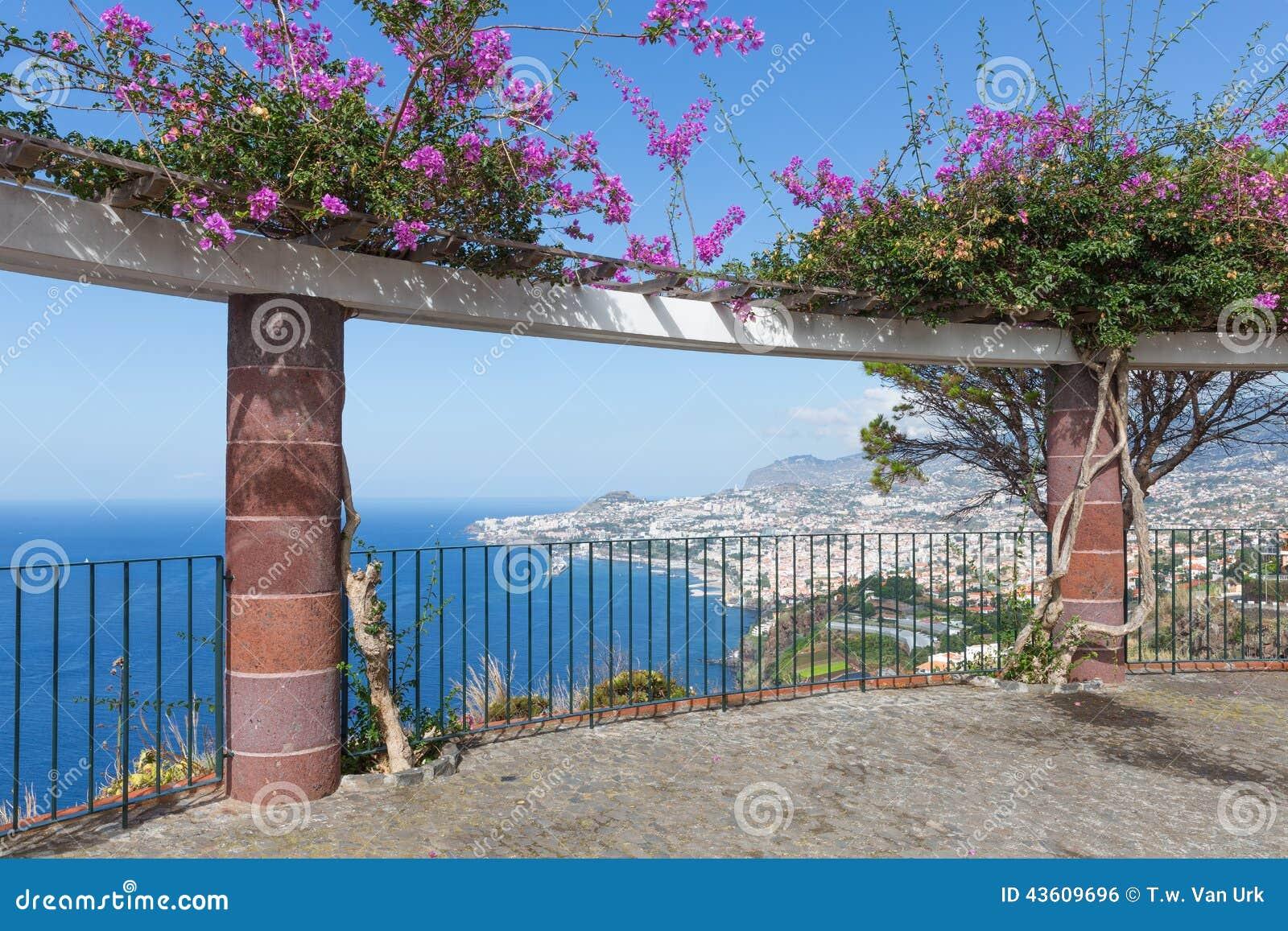 用装饰花观看平台和一张鸟瞰图在丰沙尔,马德拉岛
