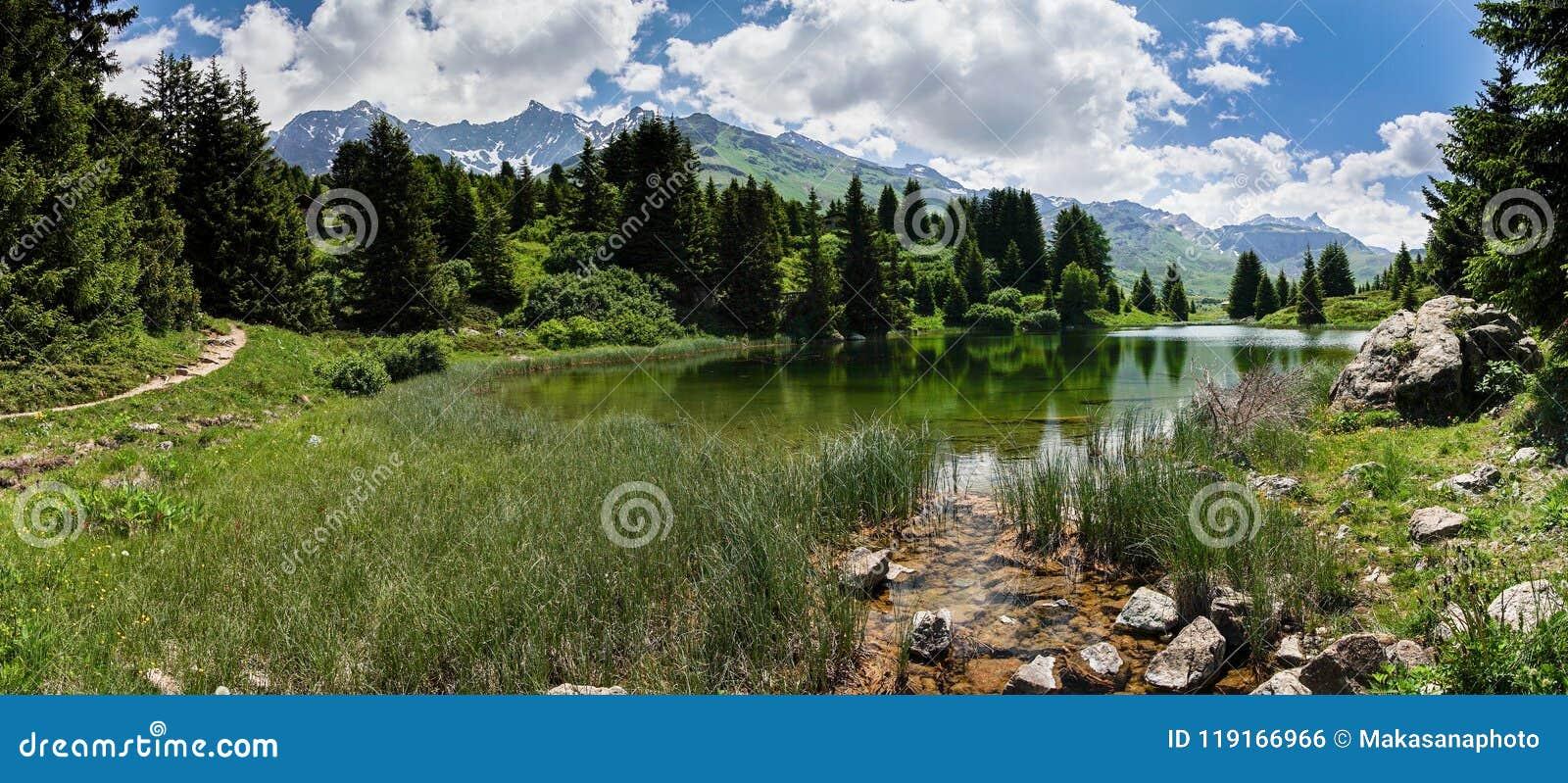 田园诗山湖风景在瑞士阿尔卑斯临近阿尔卑斯弗利克斯