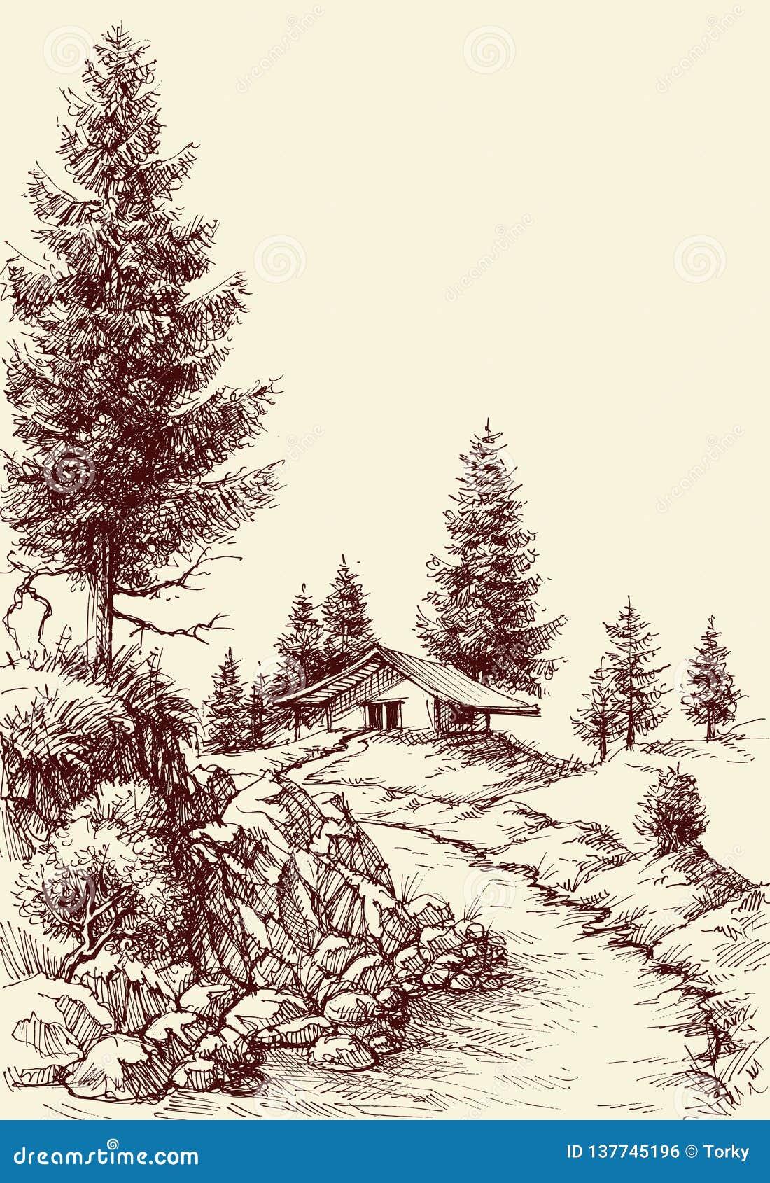 田园诗风景手图画