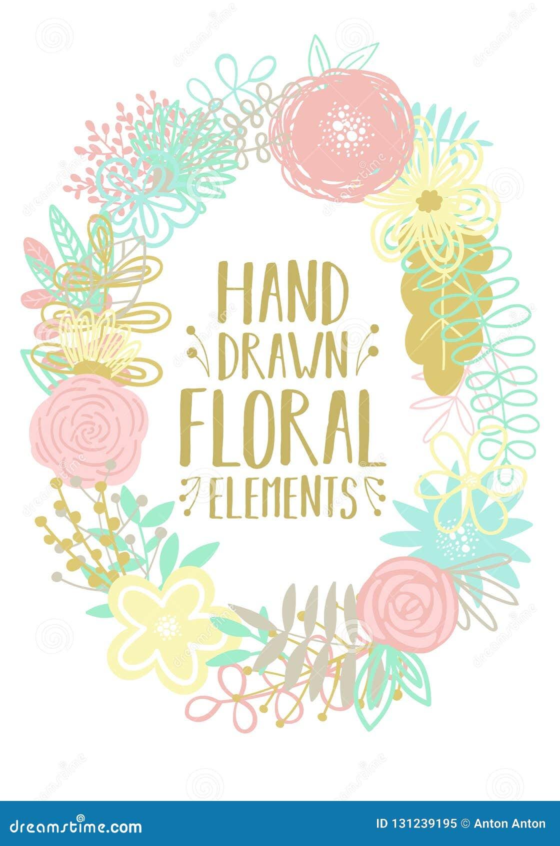 由动画片手拉的花卉元素做的一个卵形框架的传染媒介例证 明信片的装饰的,invitatio一个图象