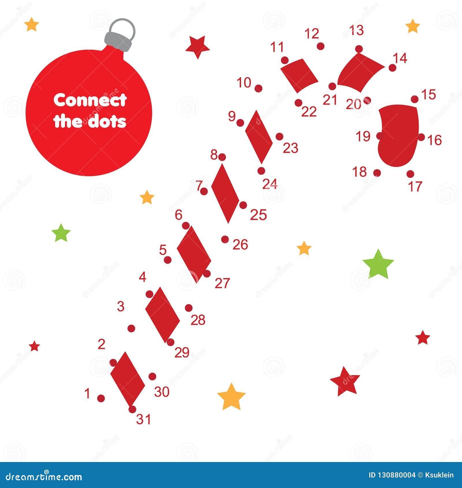 由数字儿童教育比赛连接小点 新年题材,圣诞节棒棒糖