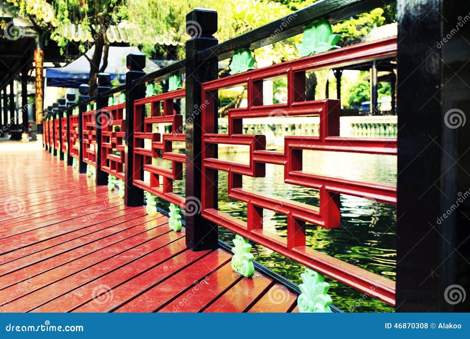由池塘的木细长立柱,与中国古典设计的木扶手栏杆