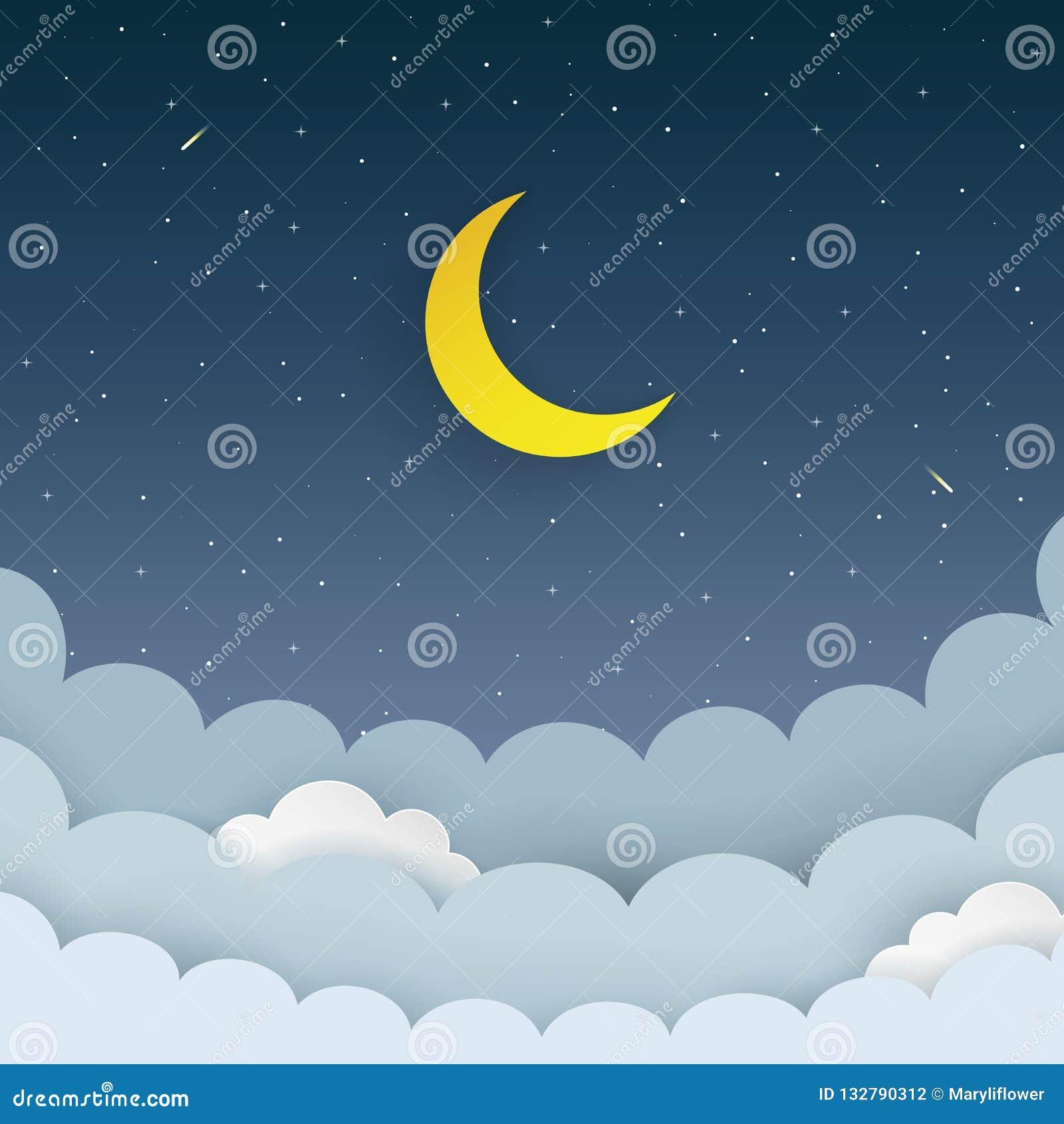 甲晕,星,云彩,在黑暗的夜满天星斗的天空背景的彗星 与月亮和流星的星系背景