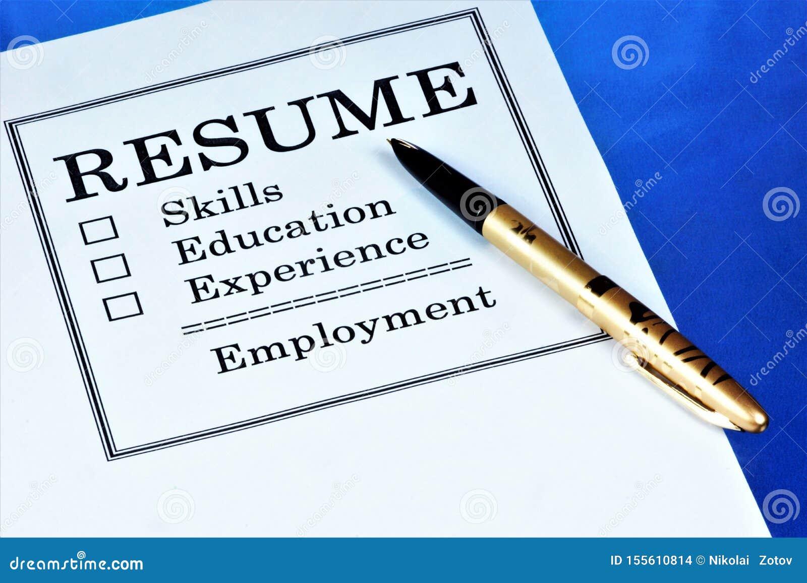 申请人的简历文件工作 关于技能的简历信息,工作经验,教育,资格,