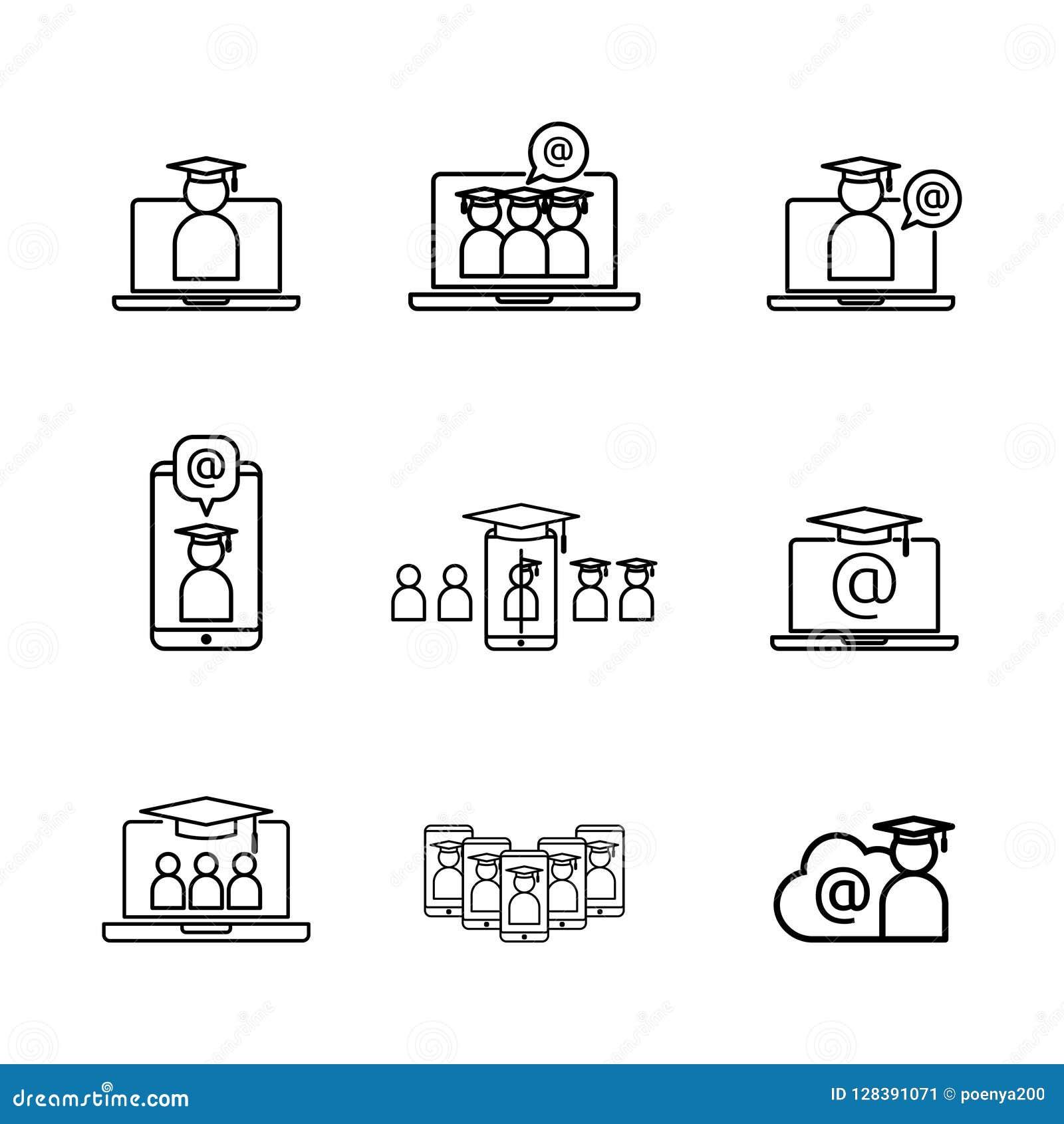 电子教学线象 网上互联网教育标志 在膝上型计算机屏幕上的毕业盖帽 数字式毕业生企业标志 商标为