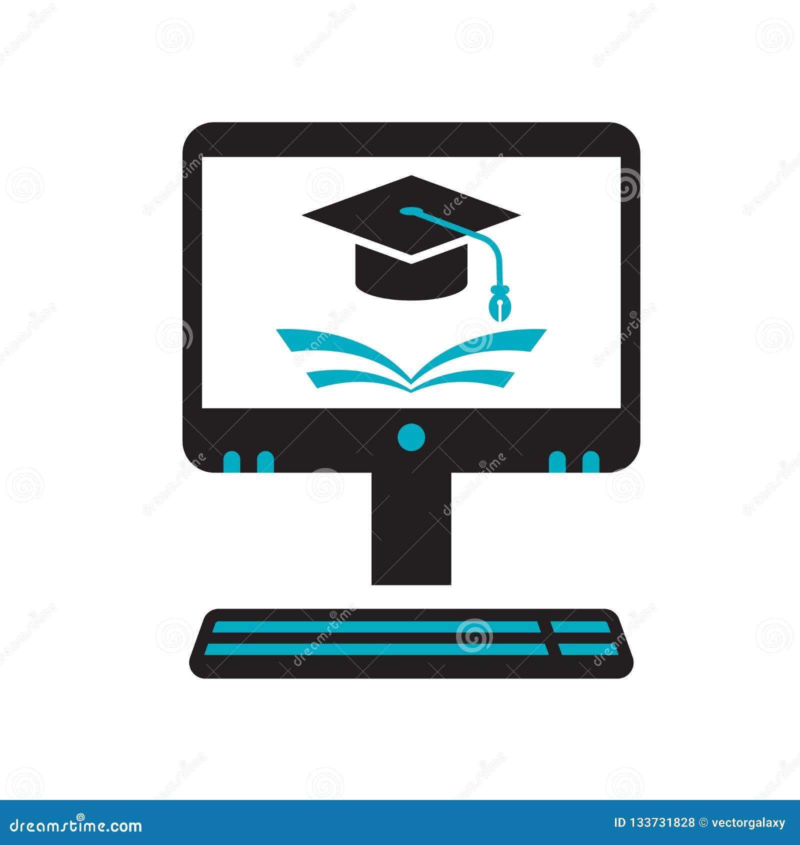 电子教学象在白色背景和标志隔绝的传染媒介标志,电子教学商标概念