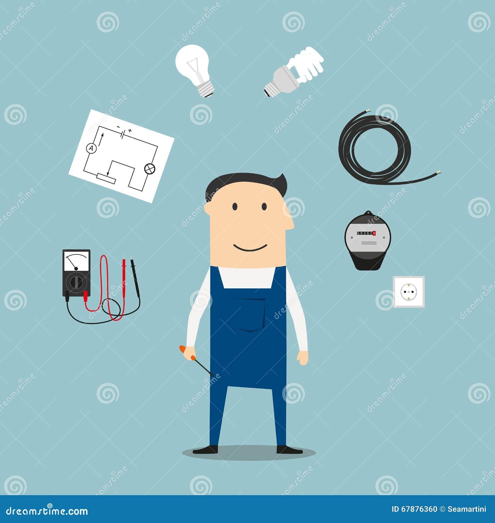 电工工作者mwith设备和工具