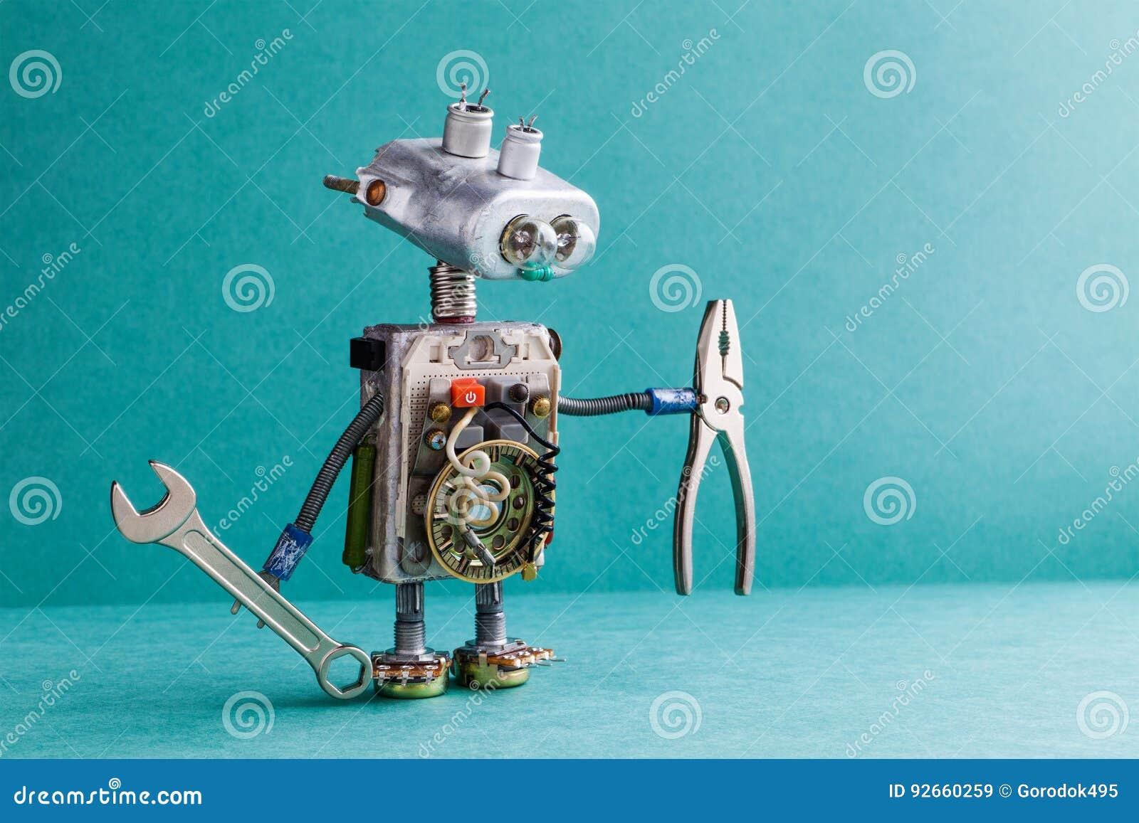 电工机器人杂物工板钳钳子 技工靠机械装置维持生命的人玩具电灯泡注视顶头,电导线,电容器葡萄酒
