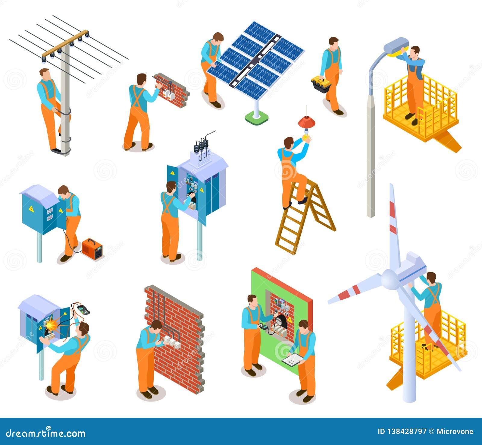 电工等量集合 完成安全电工作的工作者 修理输电线传染媒介的电子维修员