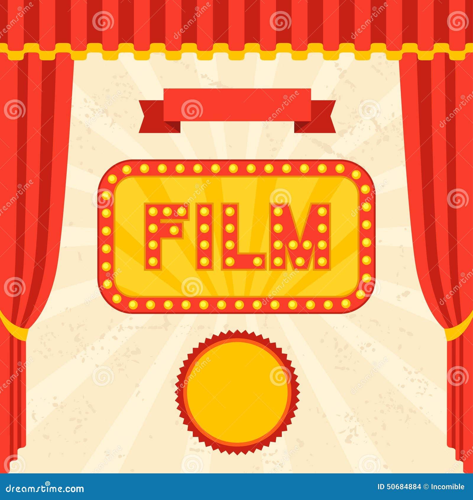 Download 电影和戏院减速火箭的背景 向量例证. 插画 包括有 看板卡, 影片, 大厅, 戏院, 框架, 入口, 明信片 - 50684884
