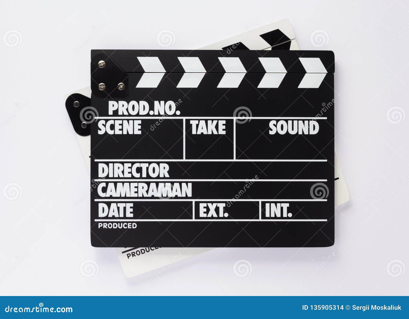 电影在白色背景的拍板