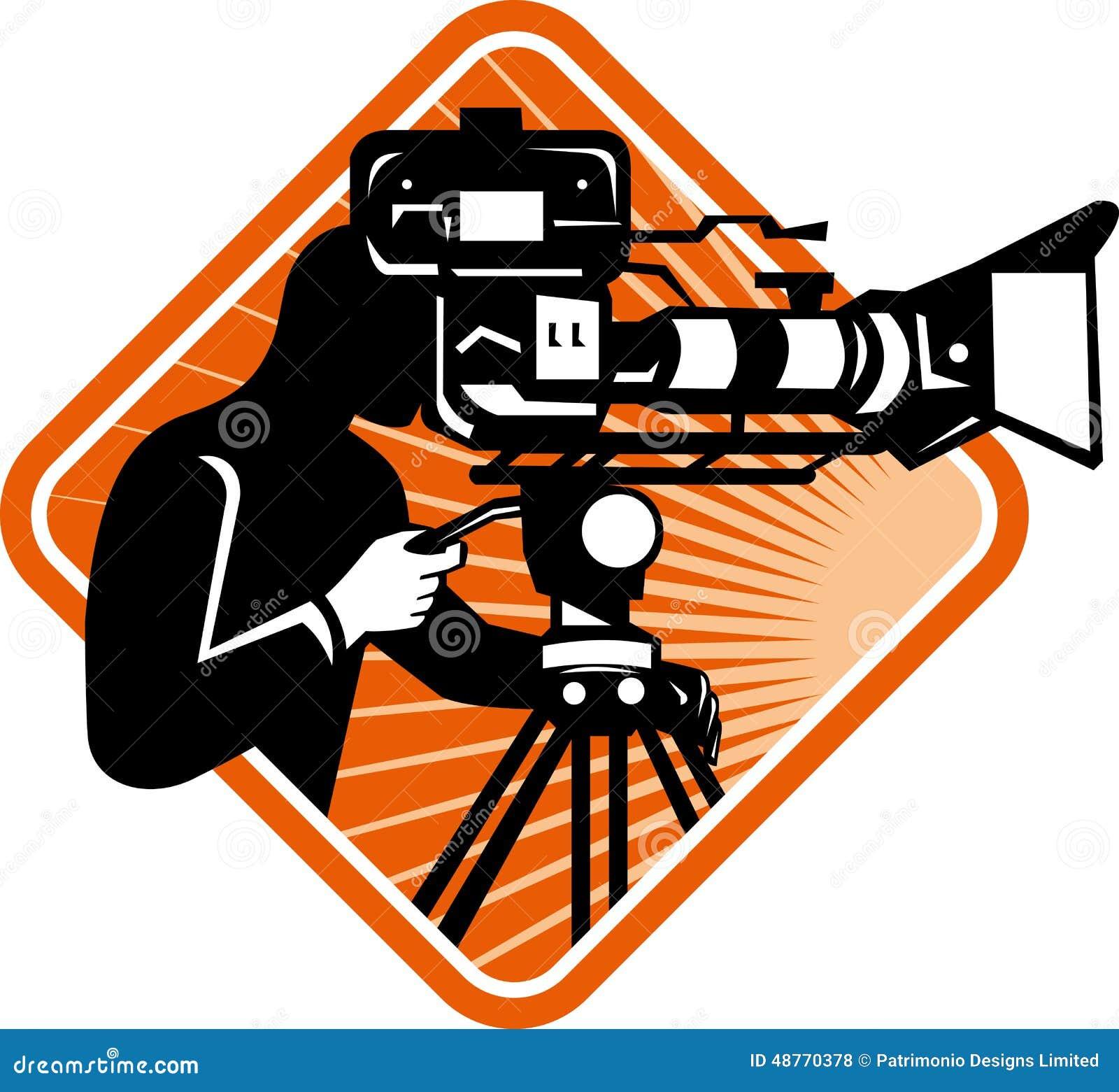 电影工作人员摄影师射击摄制照相机 Кинокамера