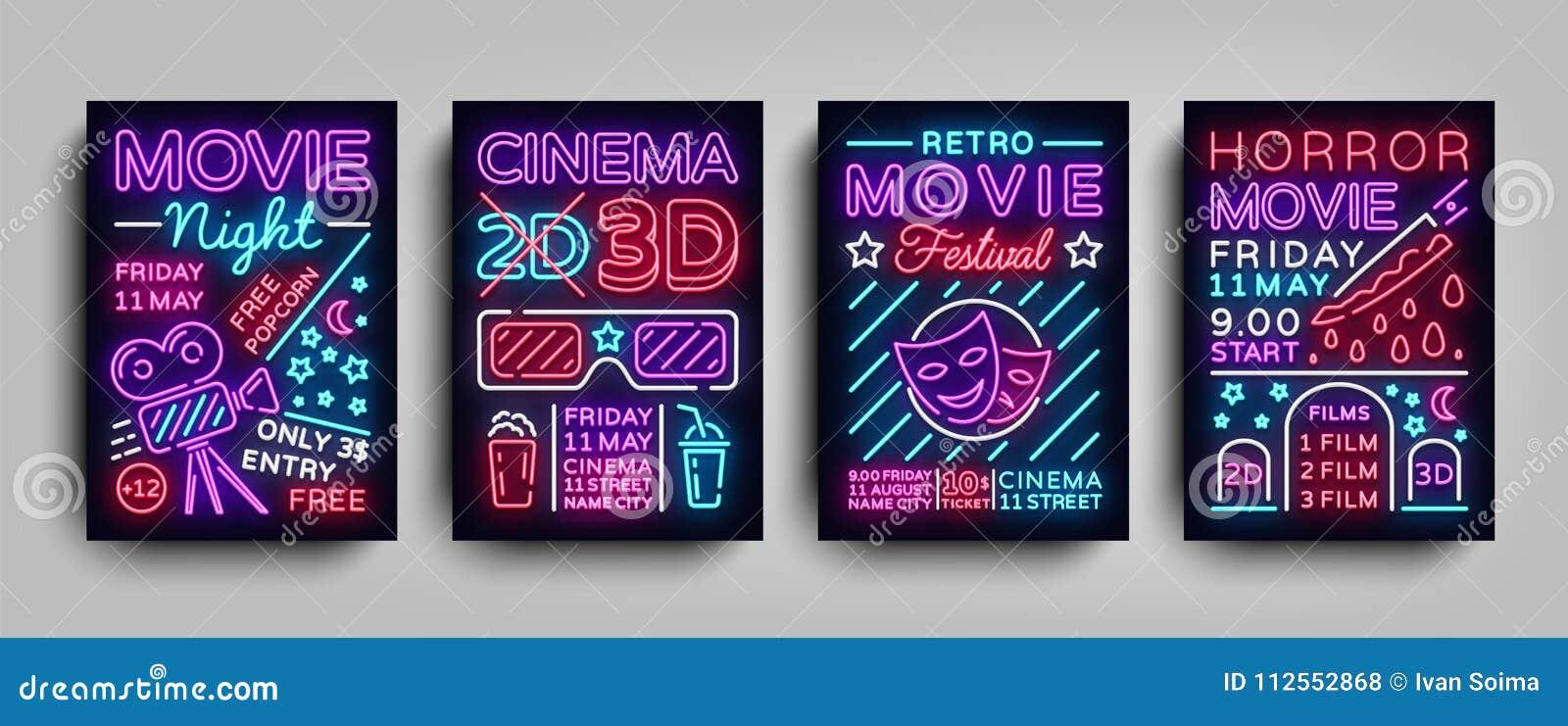 电影3d汇集海报设计在霓虹样式的模板 设置霓虹灯广告,轻的横幅,明亮的飞行物,设计