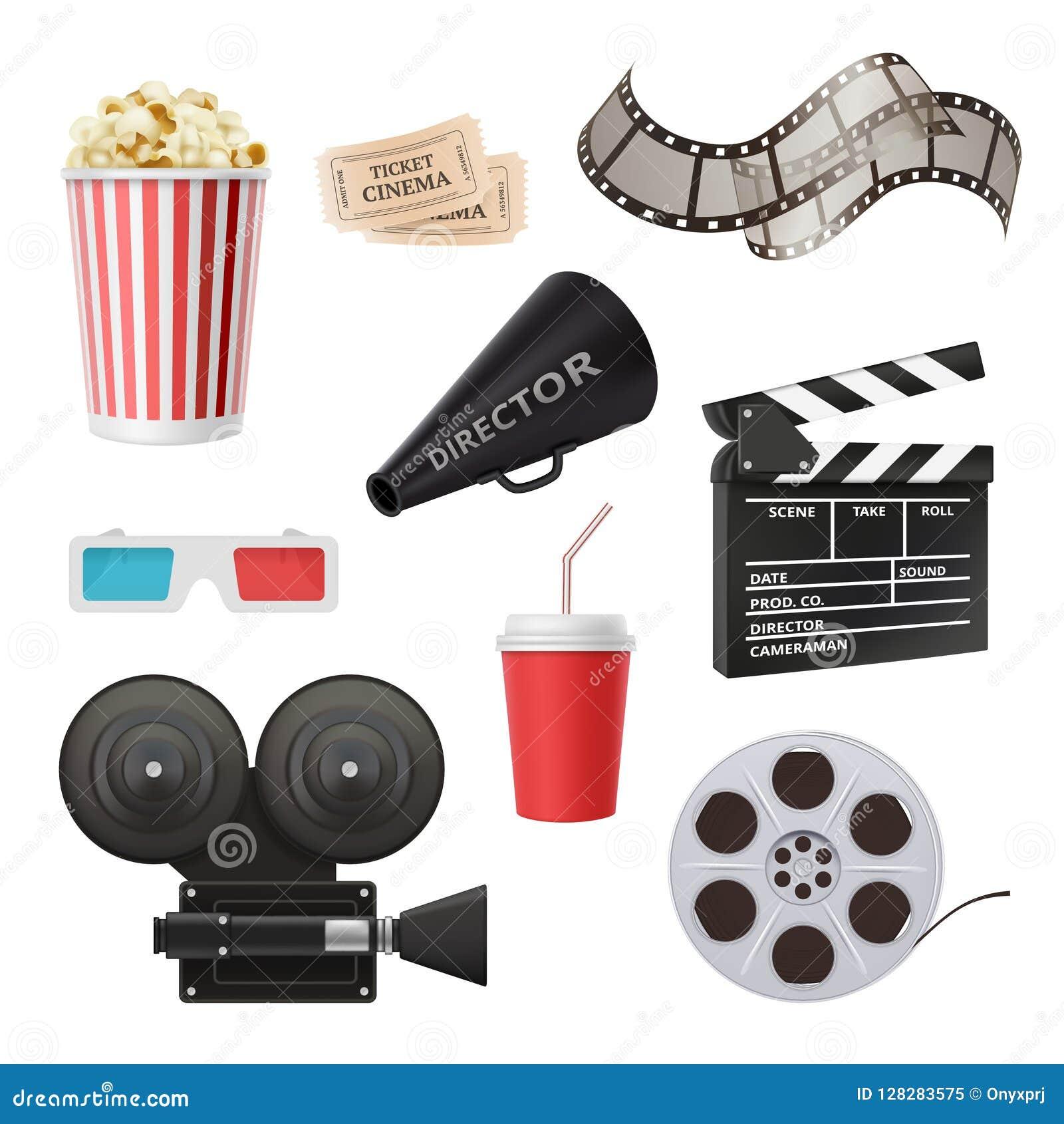 电影3d象 照相机戏院立体声玻璃玉米花拍板和扩音机影片生产的导航现实图片