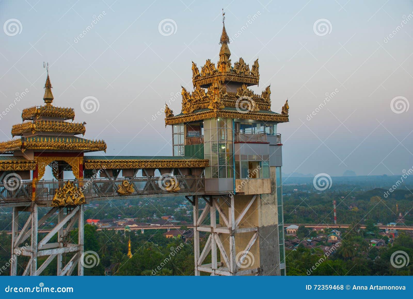 电梯 Kyaik Tan Lan 老Moulmein塔 毛淡棉,缅甸 缅甸