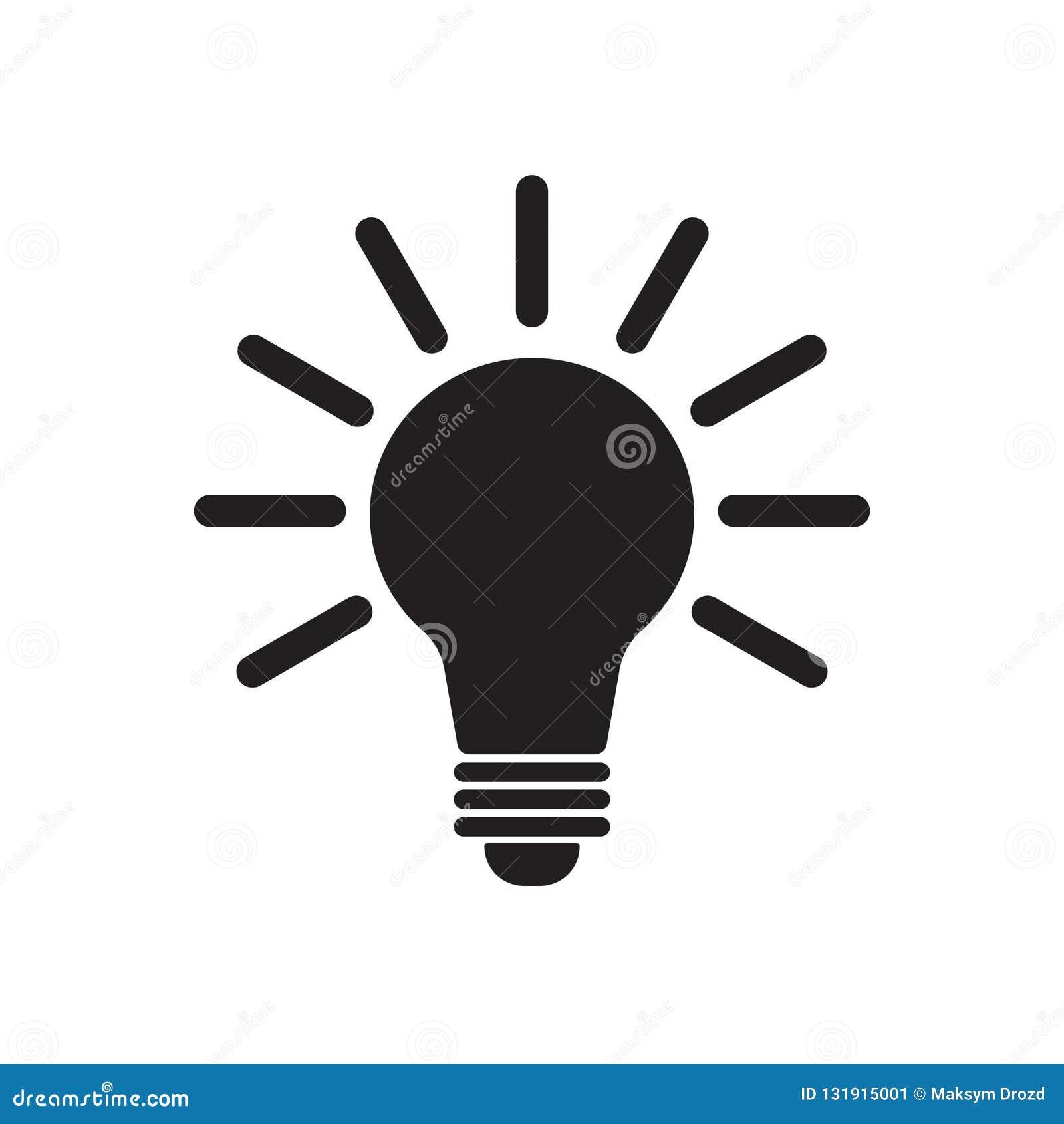 电灯泡象传染媒介,隔绝在白色背景 想法象,想法标志,解答,想法的概念 点燃电灯