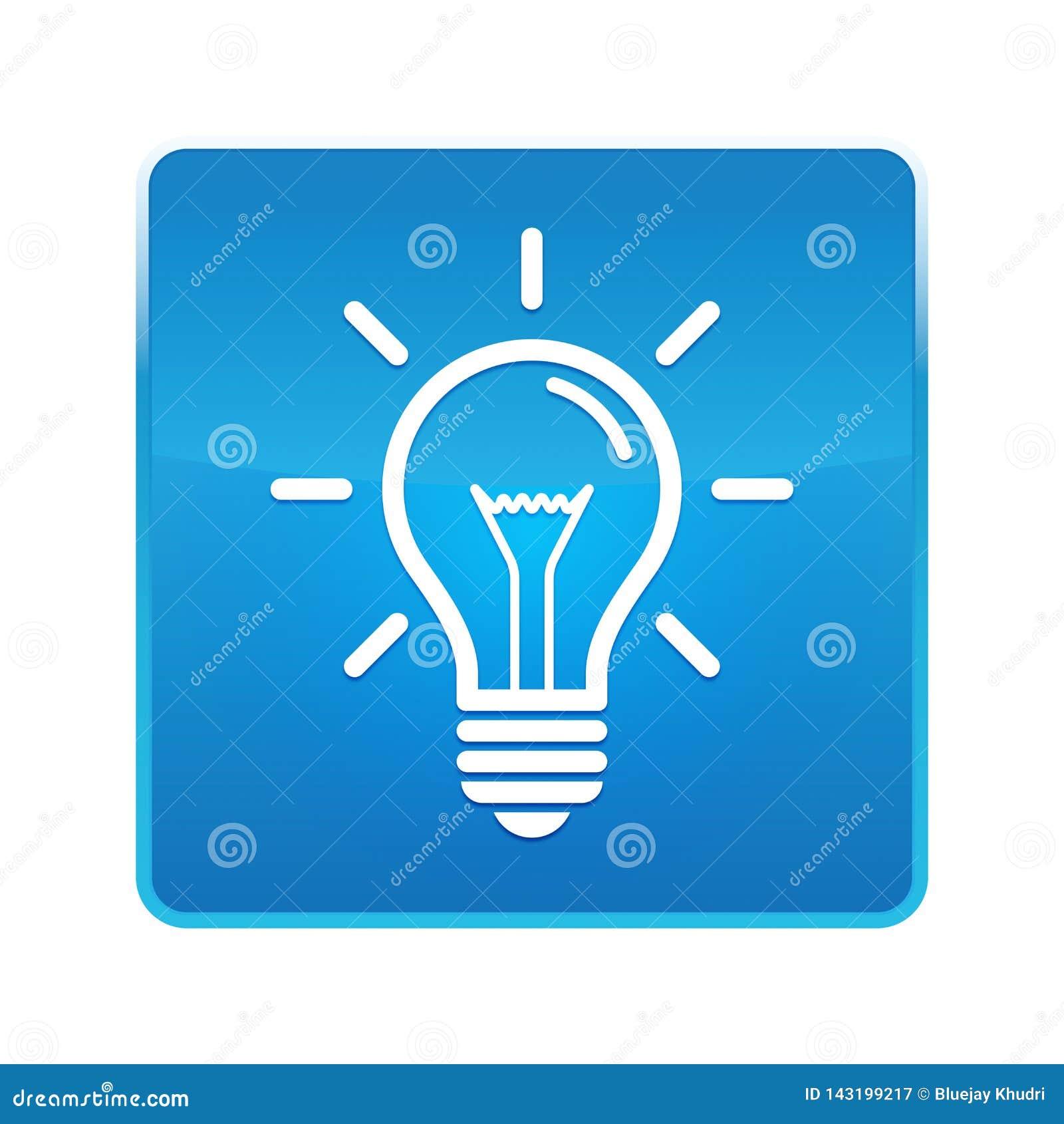 电灯泡象发光的蓝色方形的按钮