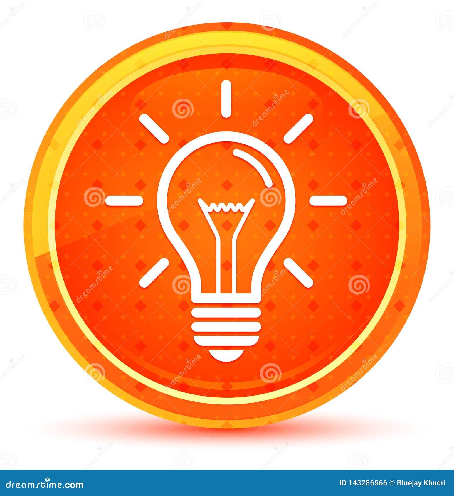 电灯泡象自然橙色圆的按钮