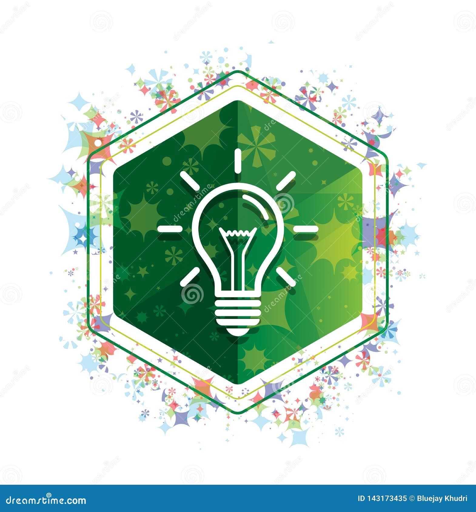电灯泡象花卉植物样式绿色六角形按钮