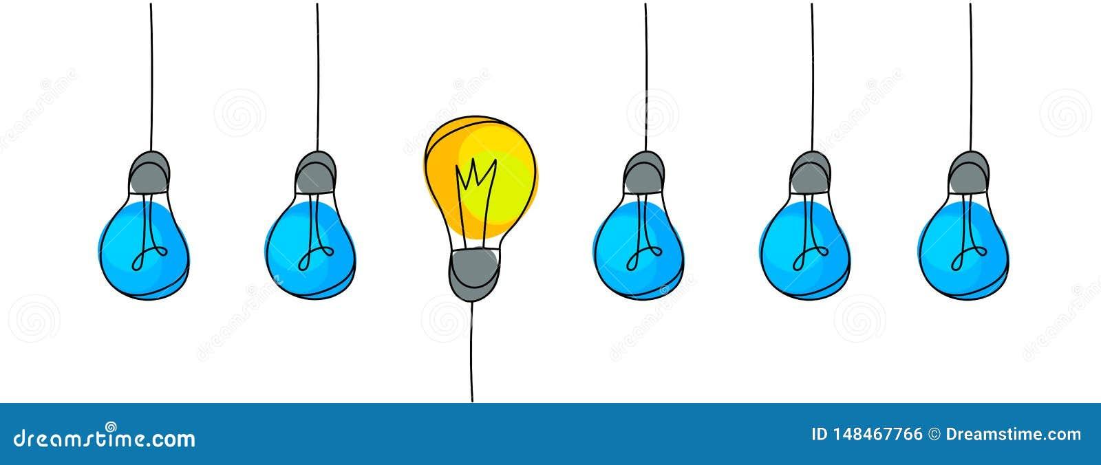 电灯泡,想法的概念