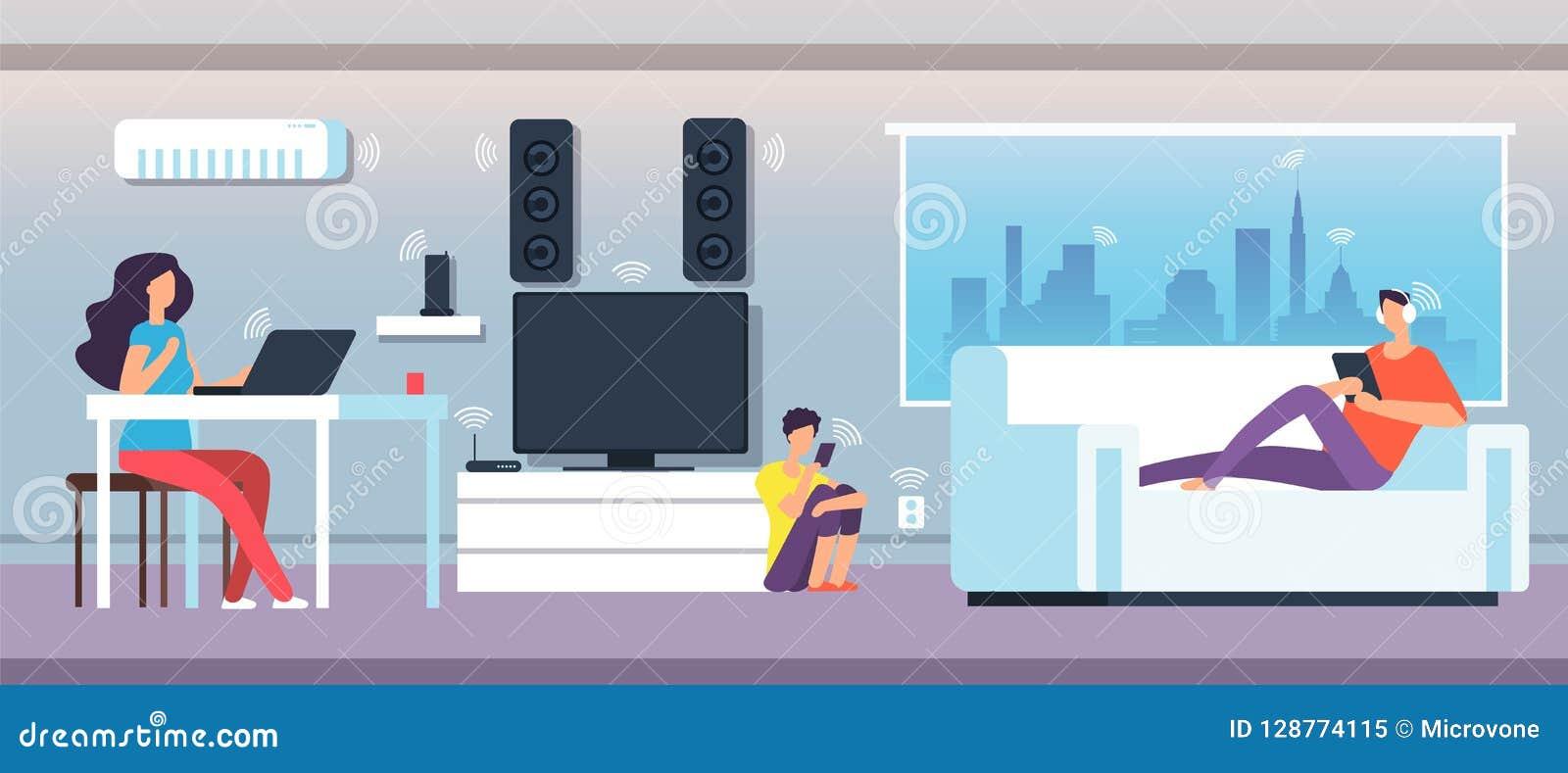 电磁场在家 在EMF下的人们从装置和设备挥动 电磁式污染传染媒介