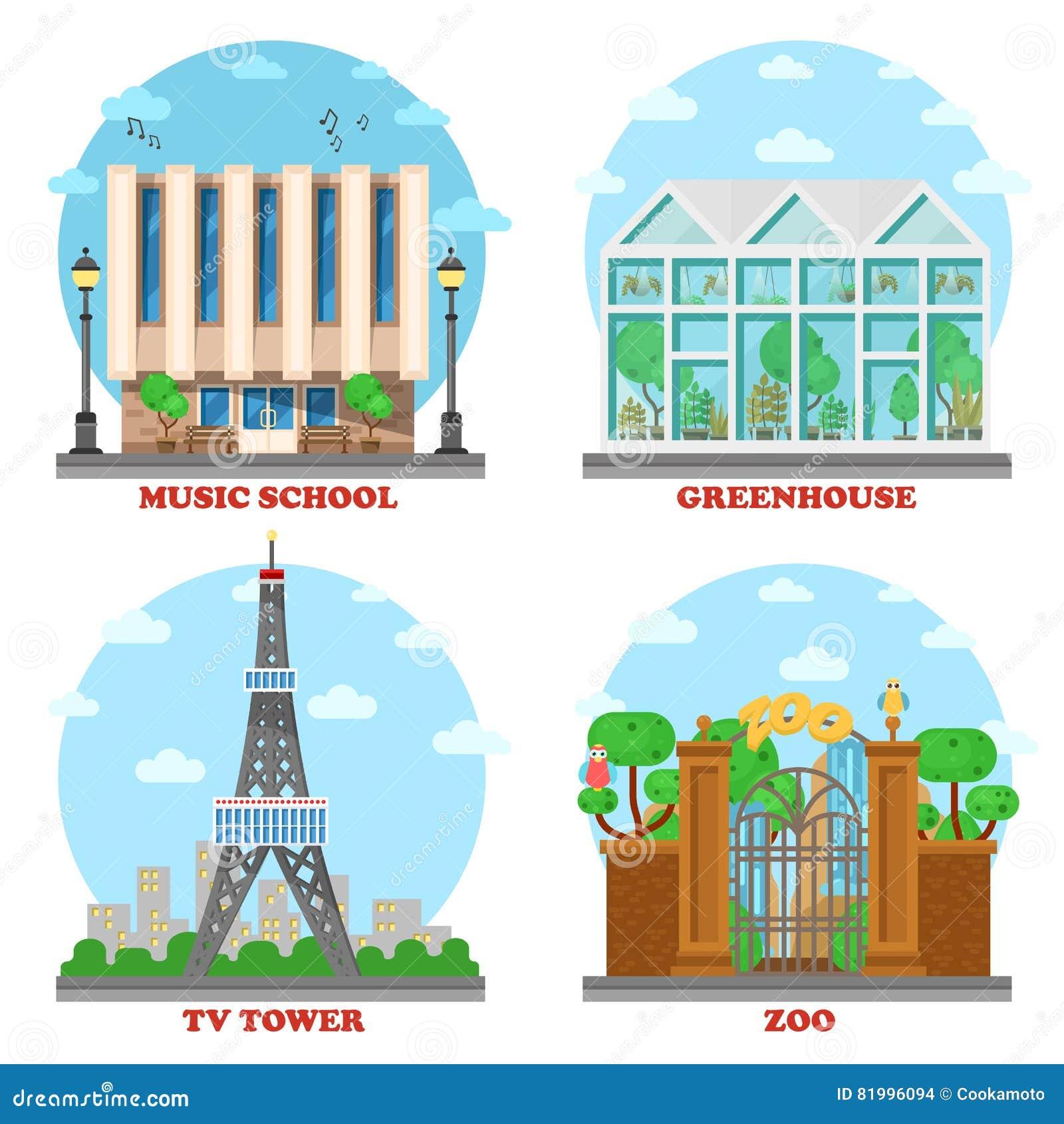 电视台和音乐学院,动物园,温室