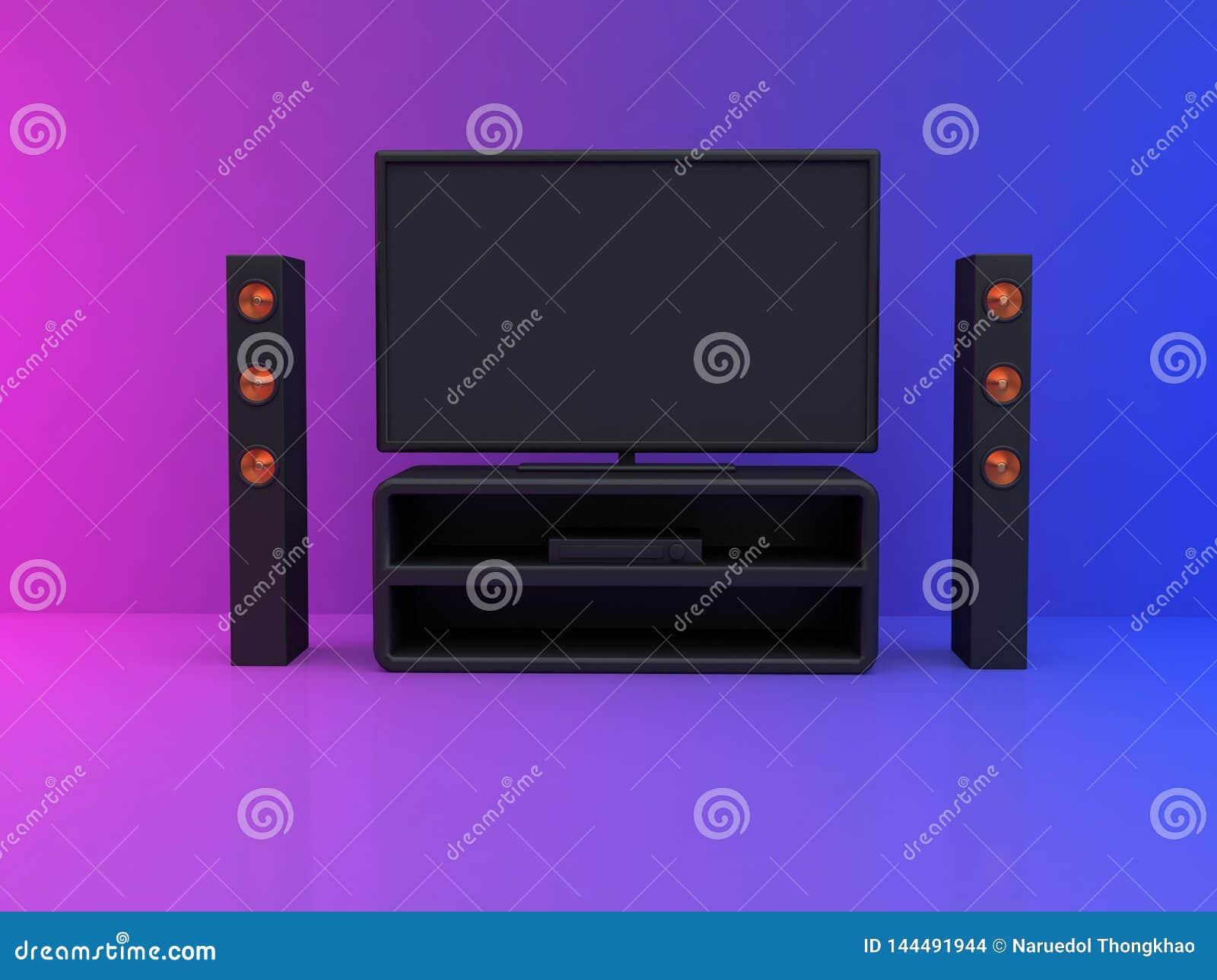 电视显示器在屋子桃红色蓝色场面3d里回报家庭影院,娱乐概念