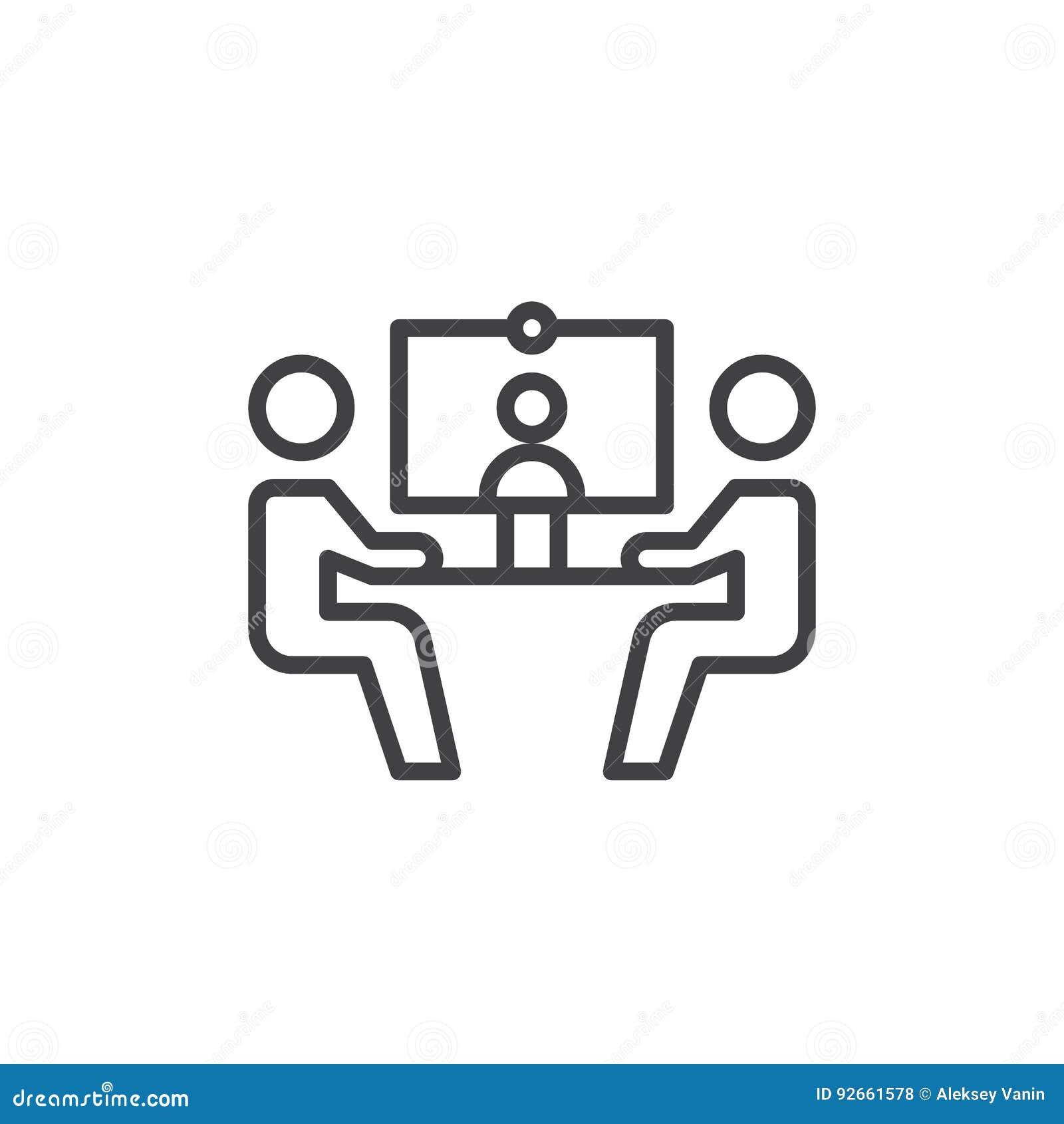 电视电话会议线象,概述传染媒介标志,在白色隔绝的线性样式图表 标志,商标例证 编辑可能的str