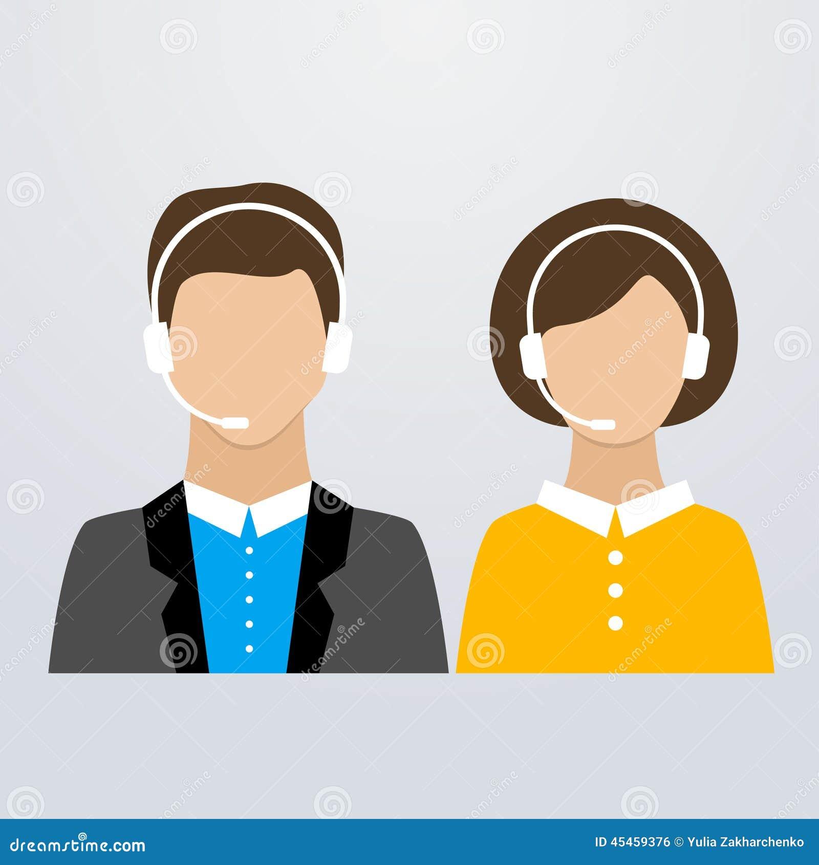 电话中心男性和女性顾问