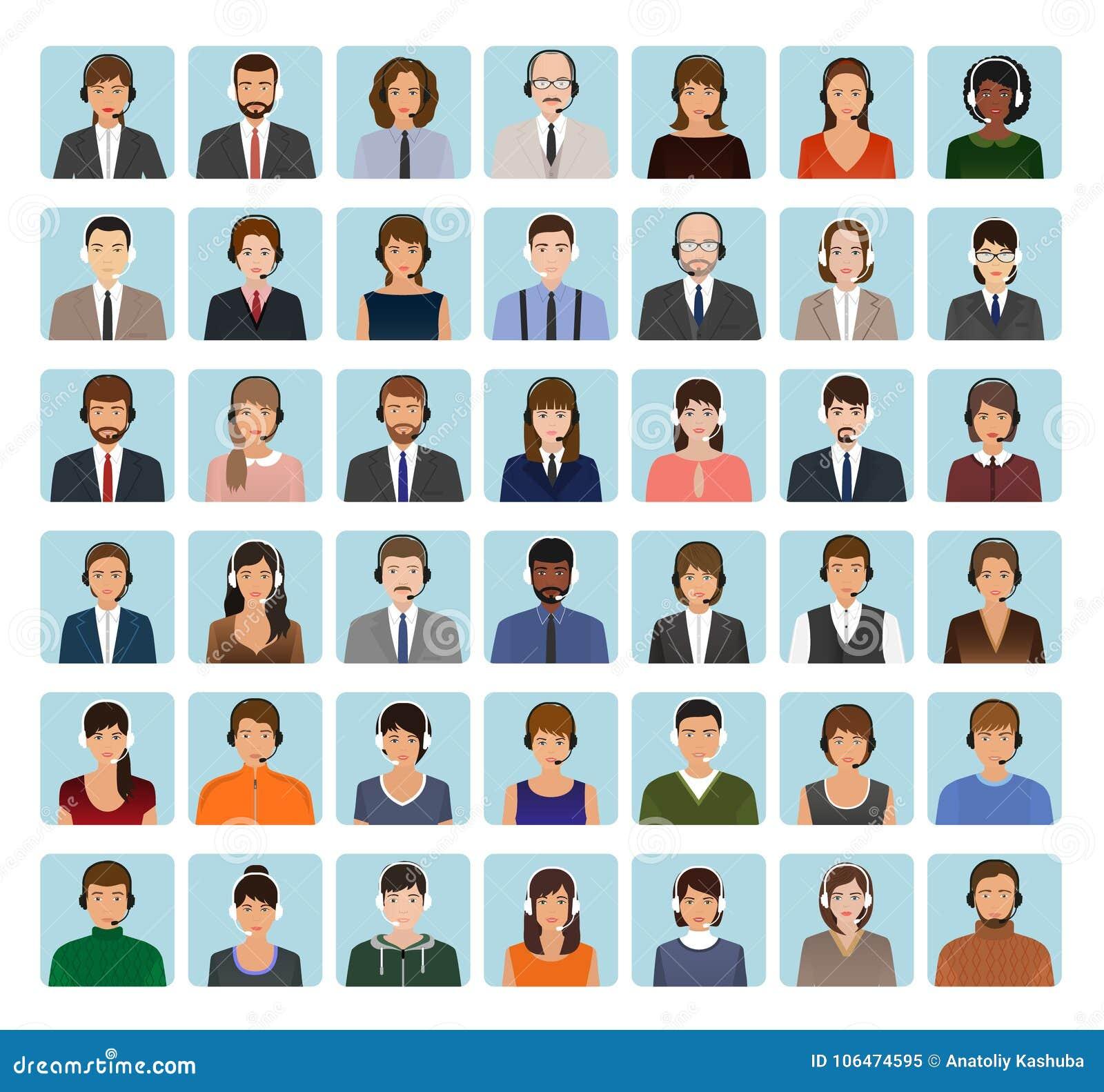 电话中心雇员具体化设置与耳机 支助服务面孔字符象