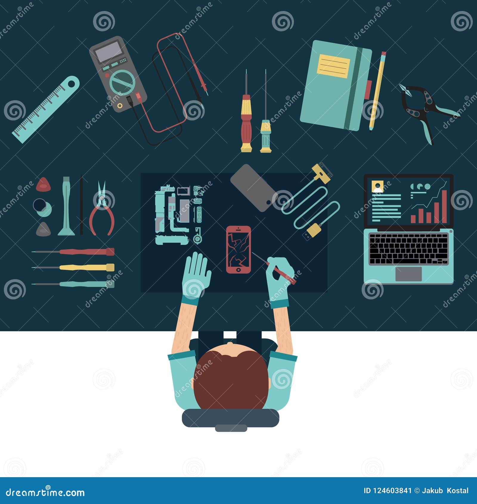 电话服务和修理中心概念 顶视图 平的设计
