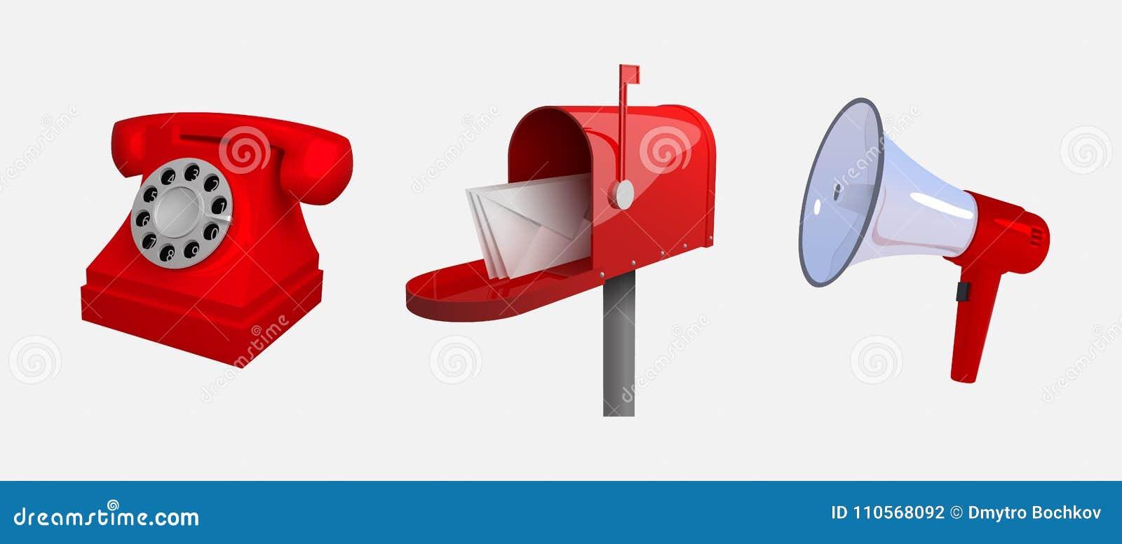 电话,邮箱,扩音机 通信方式 背景空白查出的对象被设置 Reclastic传统化了3d传染媒介illu