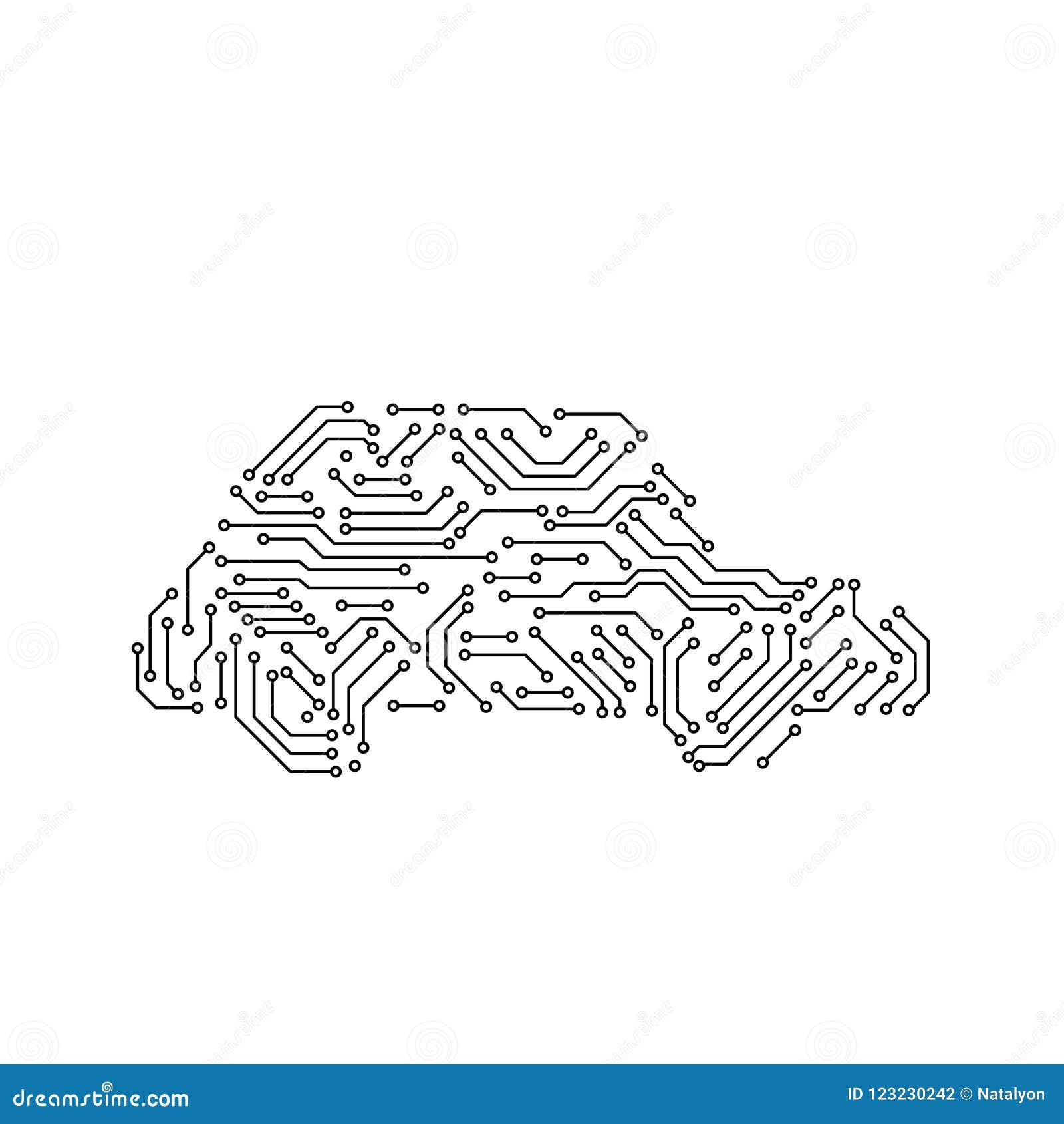 电路板黑白汽车形状计算机科技,传染媒介