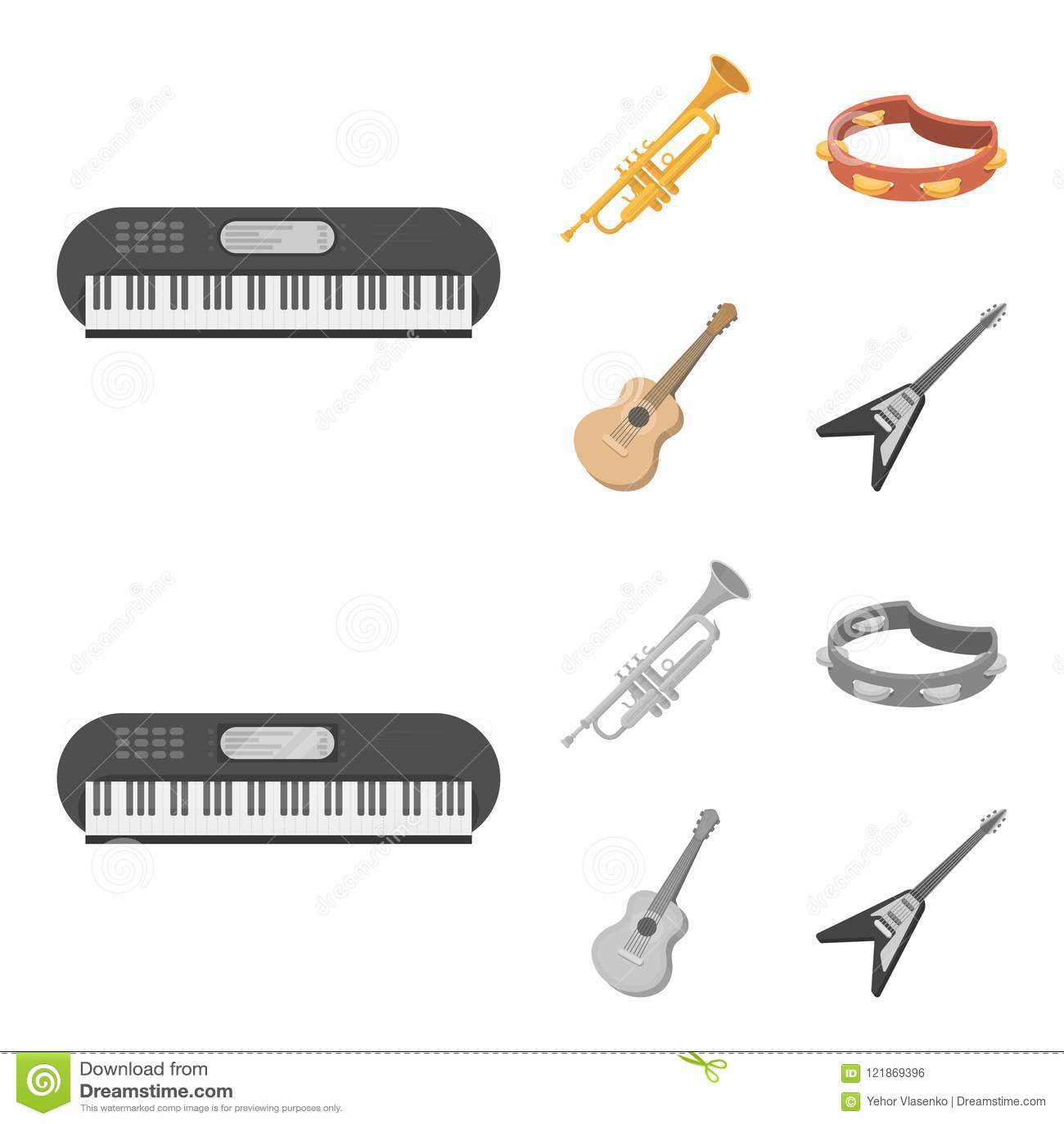 电镀器官,喇叭,小手鼓,串吉他 乐器设置了在动画片,单色样式的汇集象