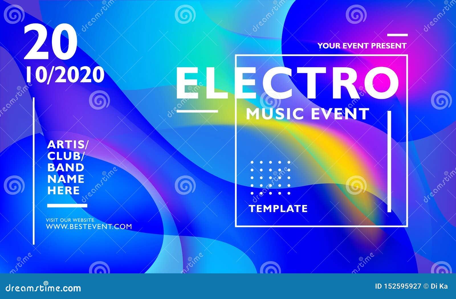 电镀音乐事件海报模板有五颜六色的波浪抽象背景 对事件、节日、音乐会,狂欢节和其他
