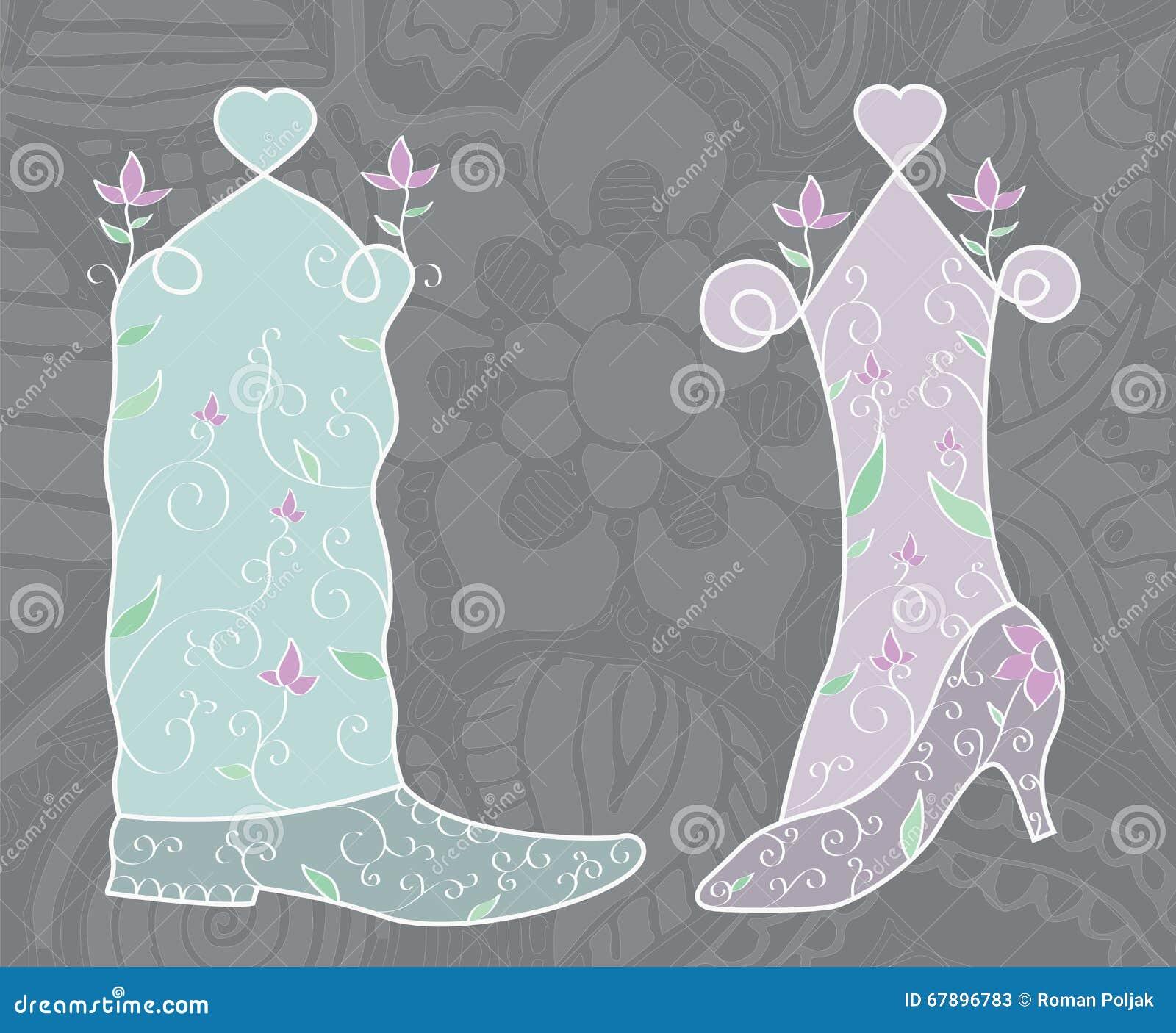 男人和妇女漩涡鞋子,心脏,婚礼,传染媒介,例证