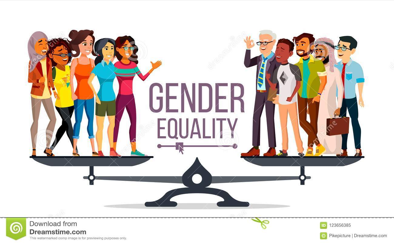 男女平等传染媒介 人,妇女,男性,女性在等级 机会均等 被隔绝的平的动画片例证