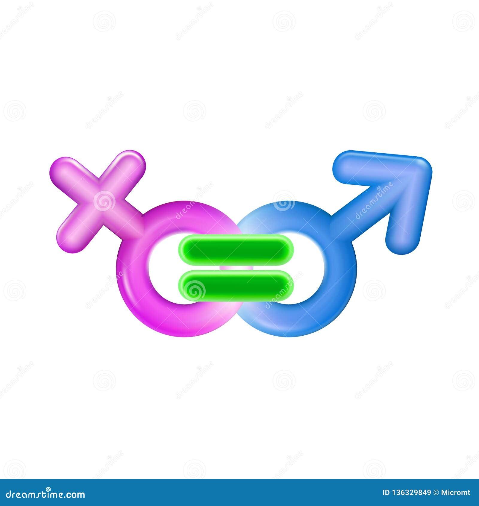 男女平等概念象塑料现实例证 桃红色和蓝色男性和女性标志均等 标志玩具3d 愉快