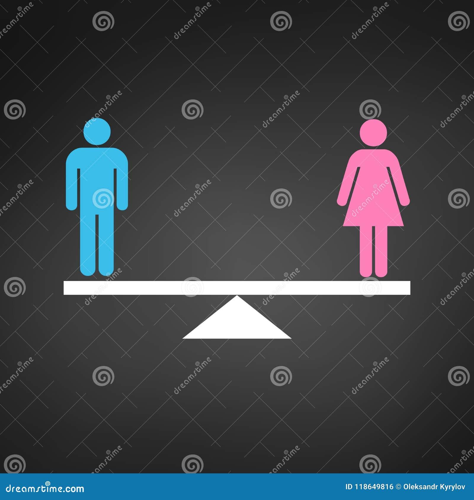 男女平等概念象 在等级的桃红色和蓝色性别象 平等在黑backround隔绝的传染媒介例证