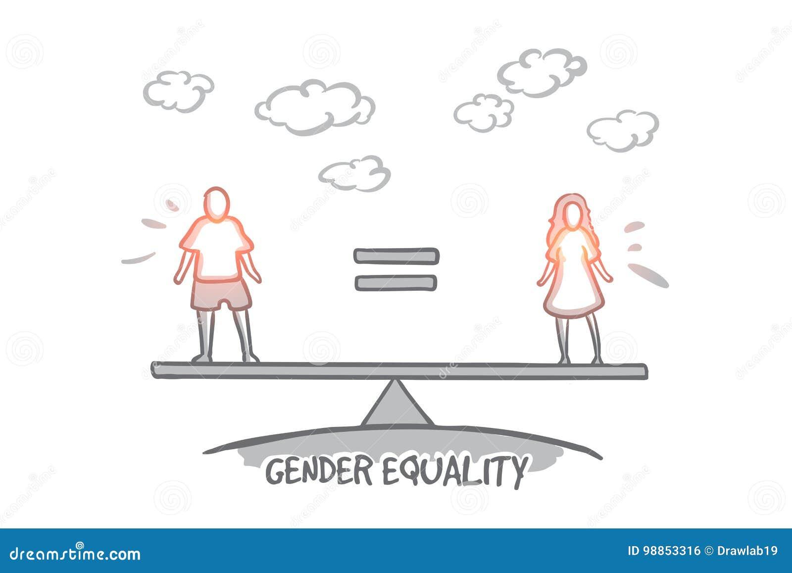 男女平等概念 手拉的被隔绝的传染媒介
