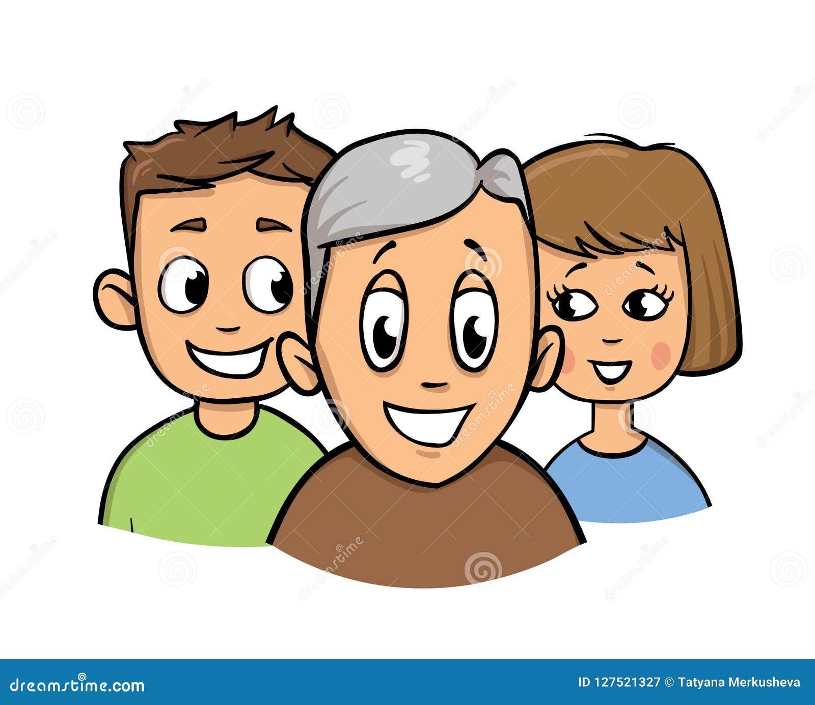 男孩、女孩和老人 照料年长人象 平的传染媒介例证 背景查出的白色