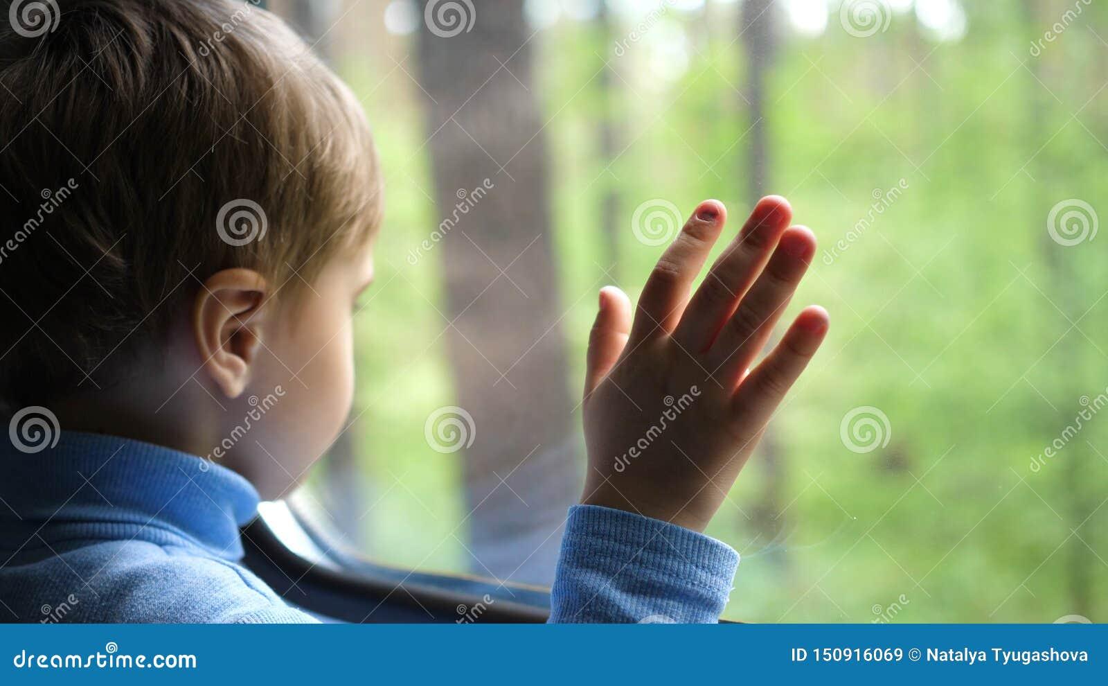 男孩乘火车旅行并且看窗口,观看移动的对象窗口外 r